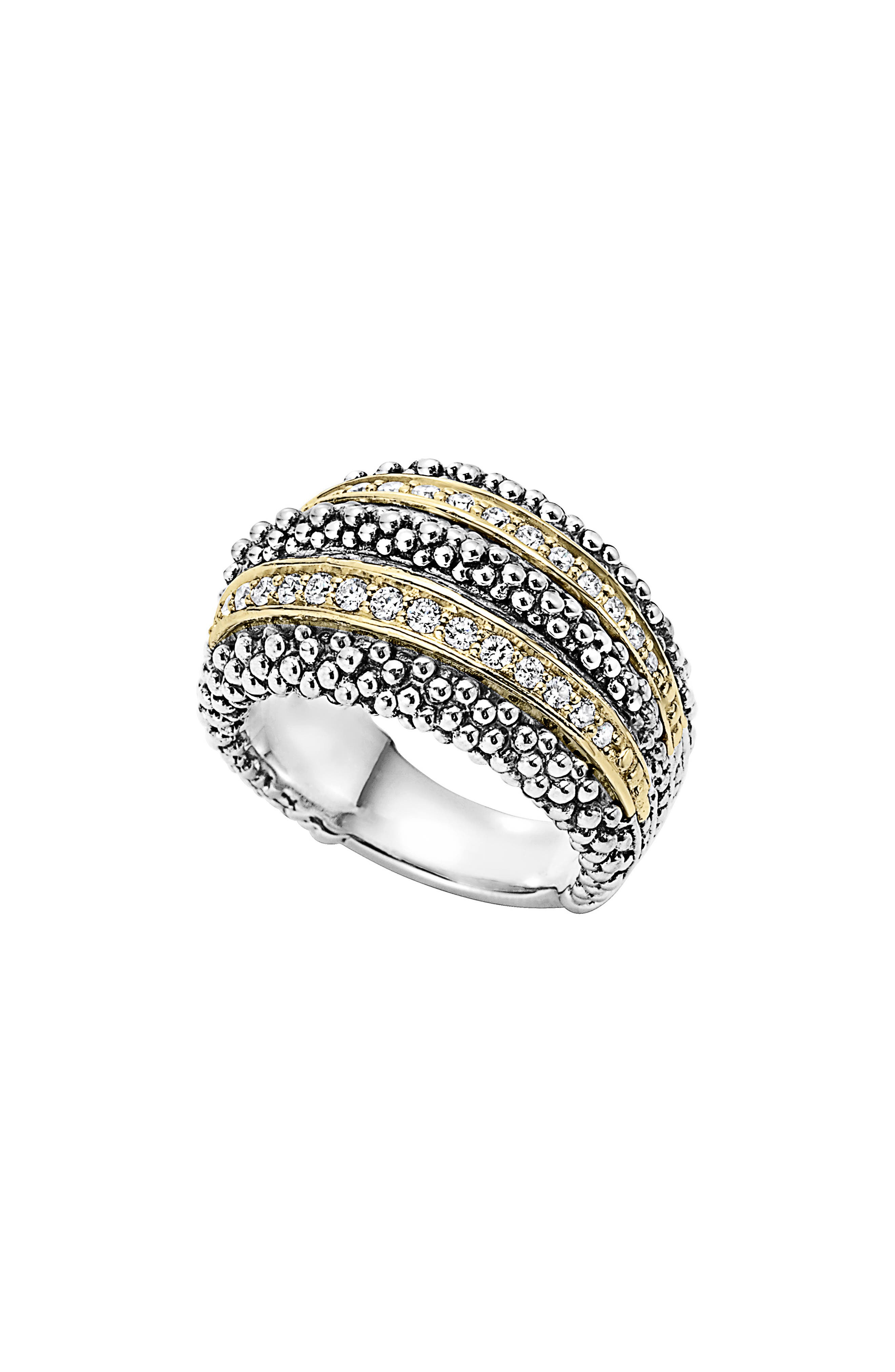 Diamond Caviar Beaded Ring,                         Main,                         color, Silver/ Gold