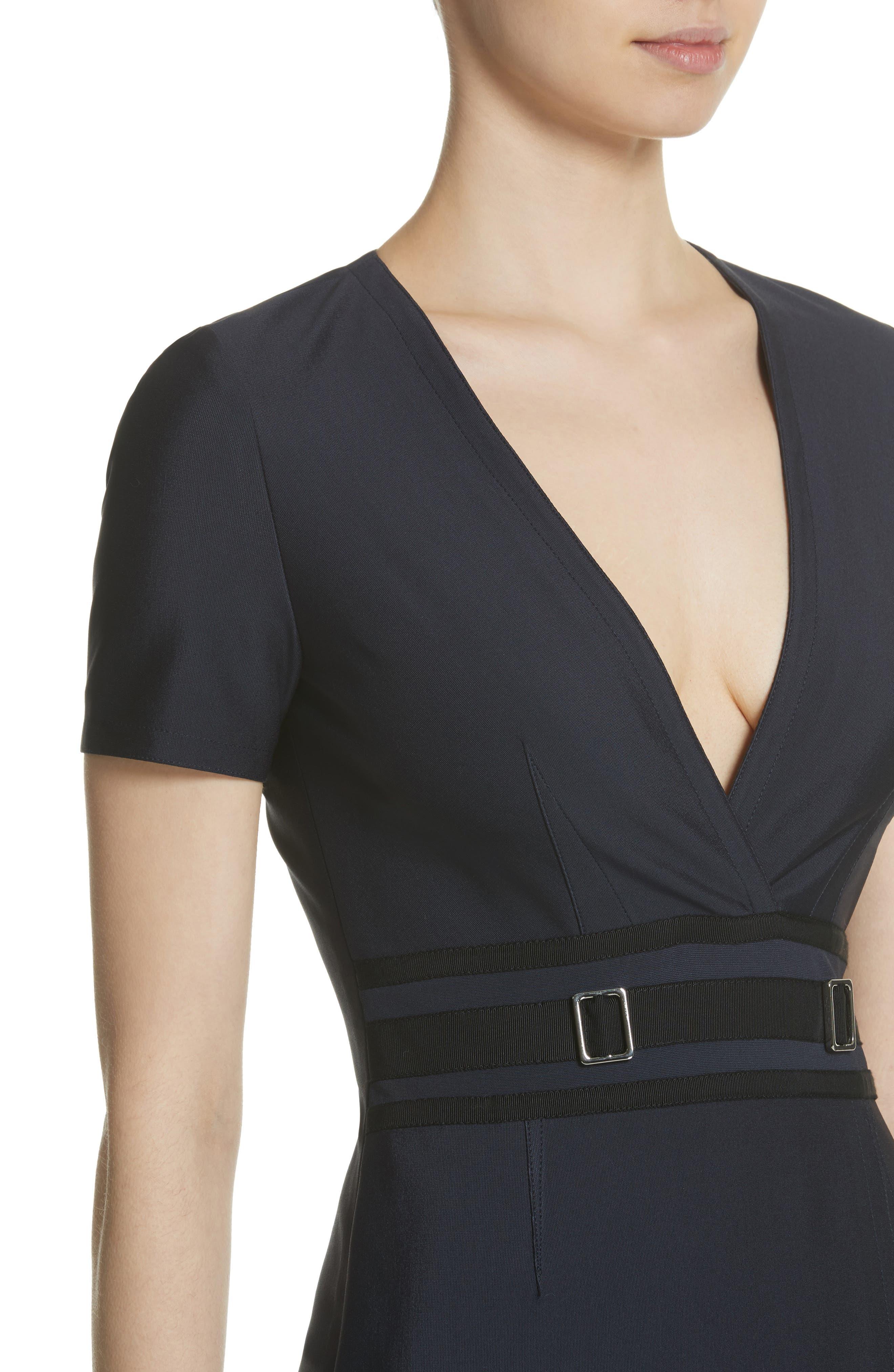 Belt Waist Sheath Dress,                             Alternate thumbnail 4, color,                             Navy Blue