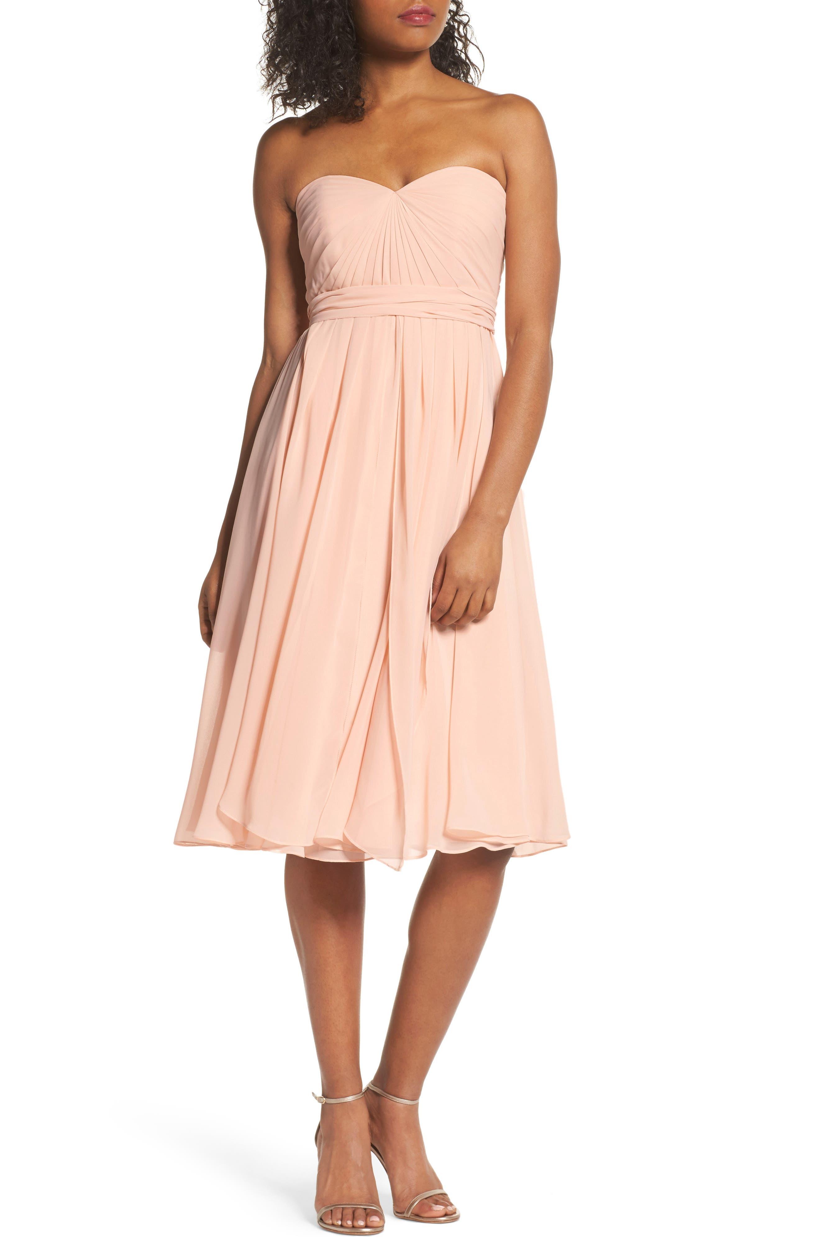Jenny Yoo Emmie Convertible Chiffon Tea-Length Dress