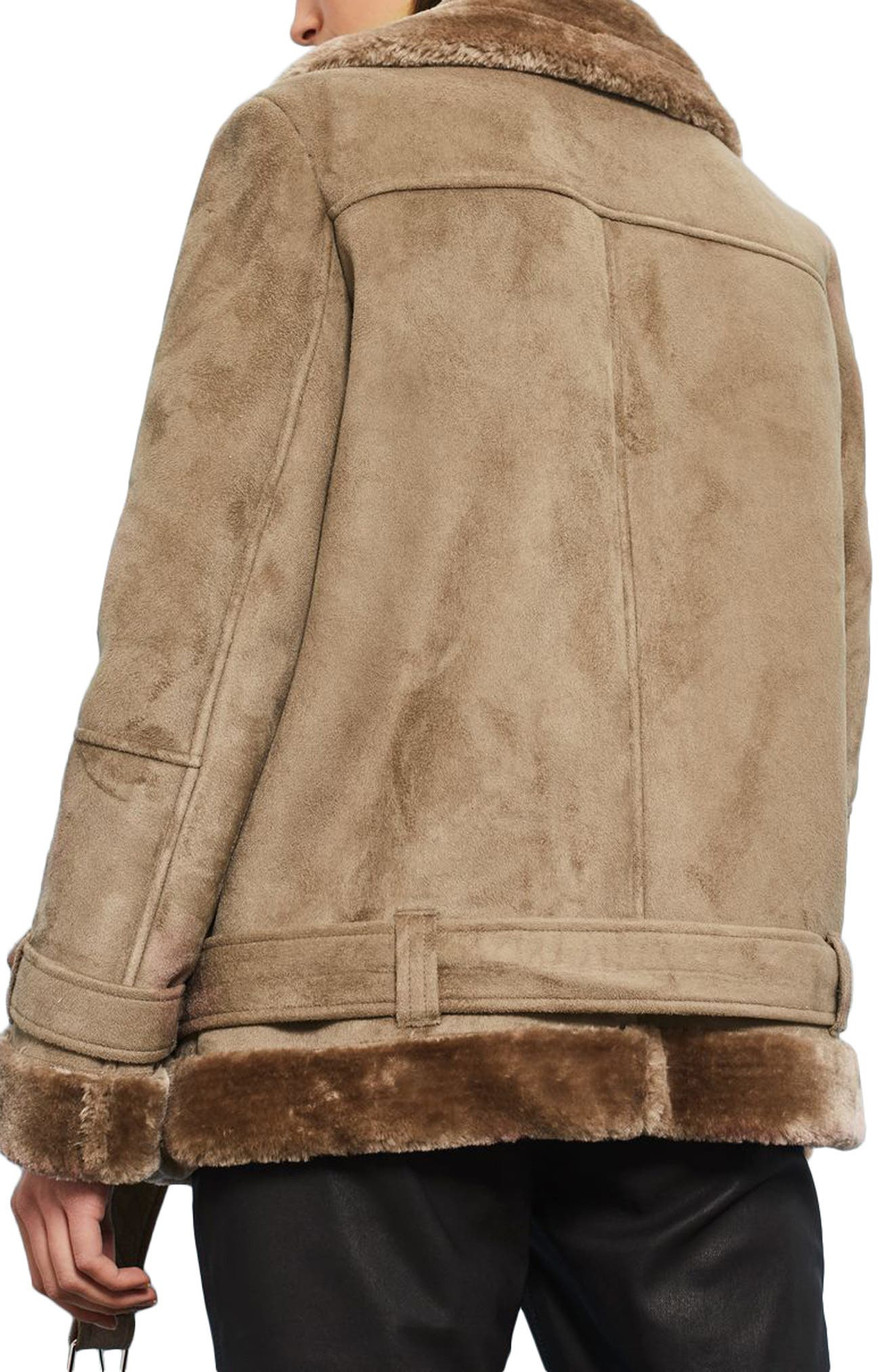 Alternate Image 2  - Topshop Faux Shearling Biker Jacket