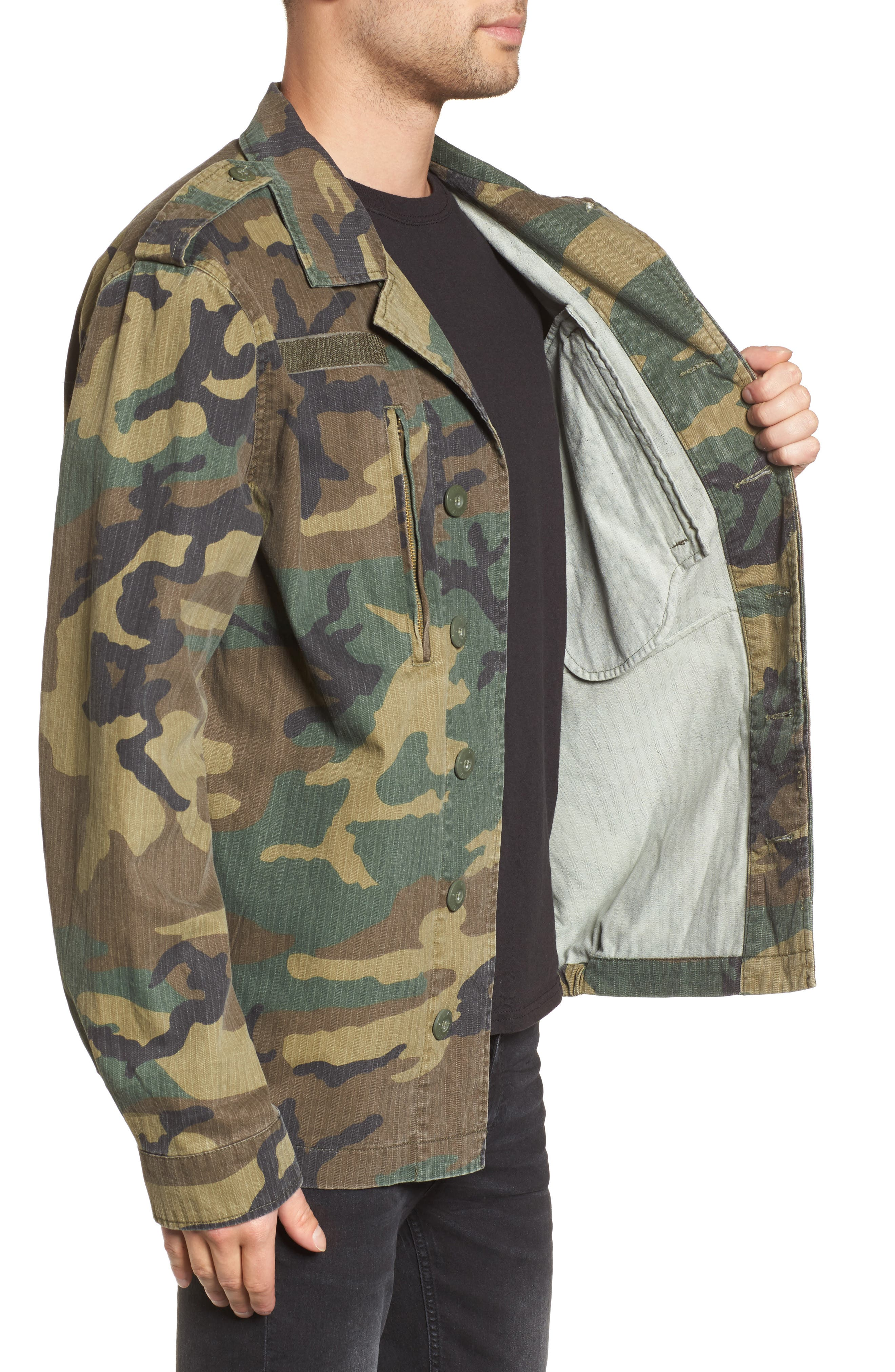 F-2 French Field Jacket,                             Alternate thumbnail 3, color,                             Woodland Camo