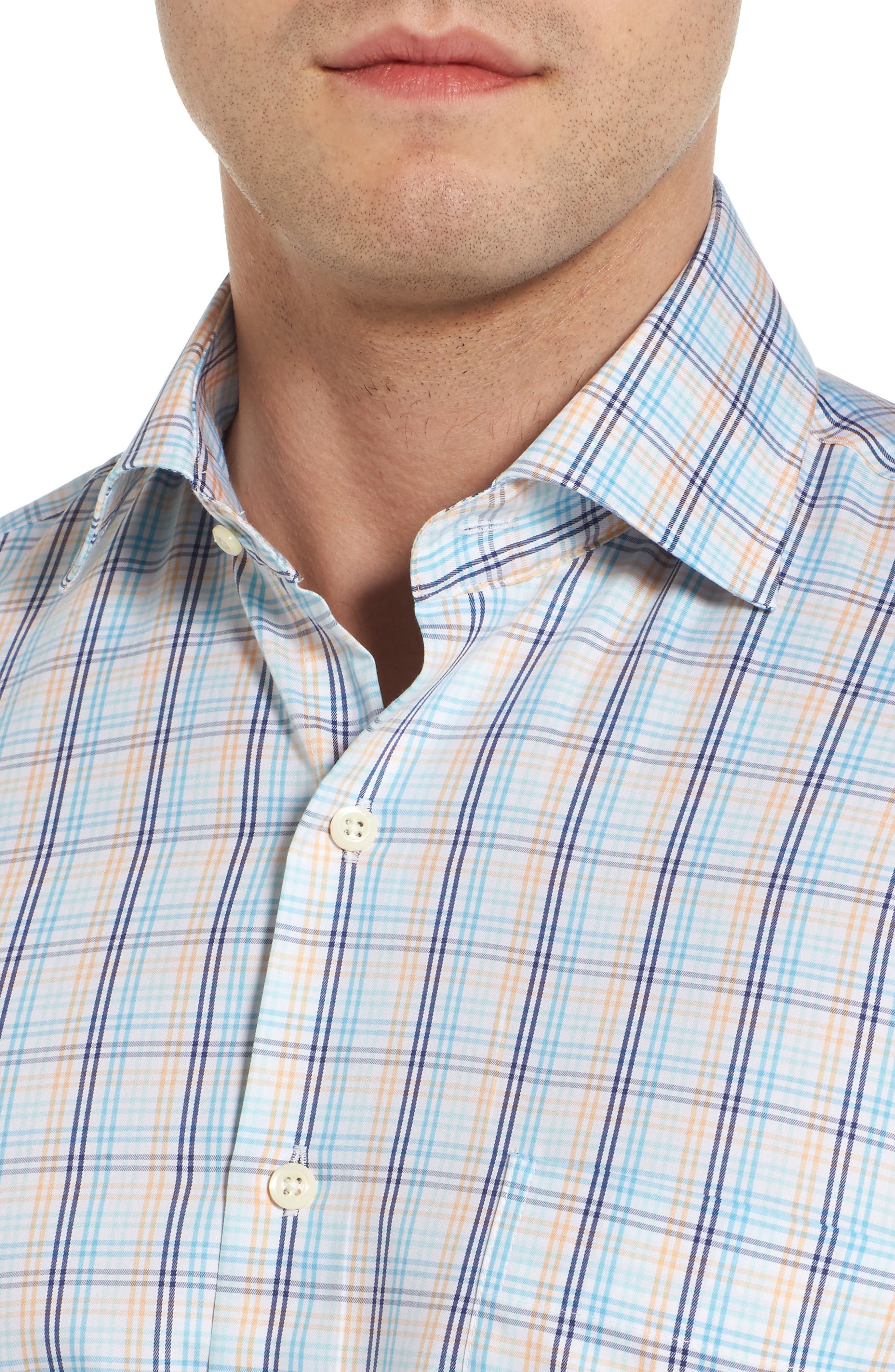 Crown Soft Daybreak Regular Fit Check Sport Shirt,                             Alternate thumbnail 4, color,                             Dreamsicle