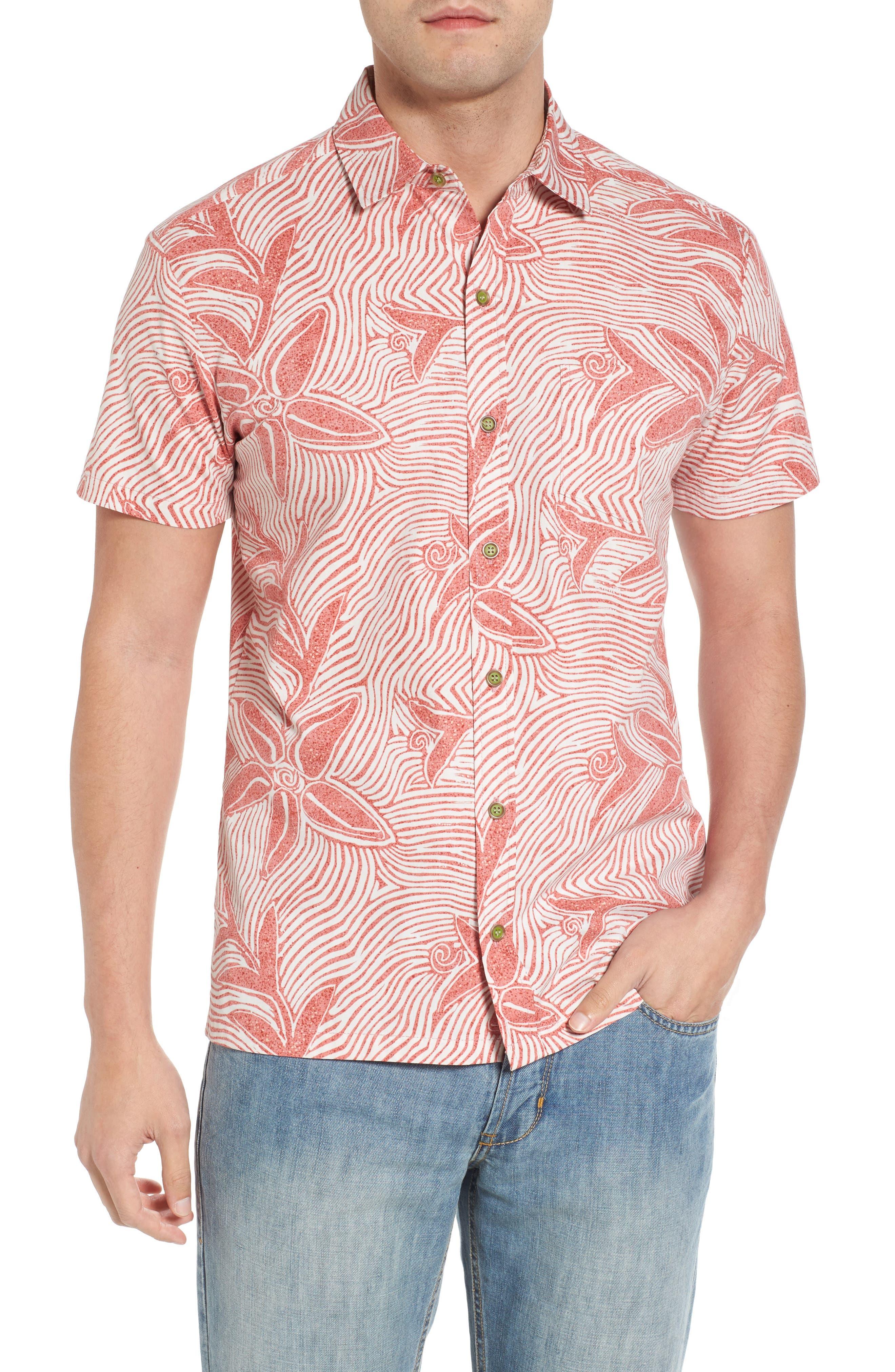 Coral Star Trim Fit Print Sport Shirt,                             Main thumbnail 1, color,                             Red