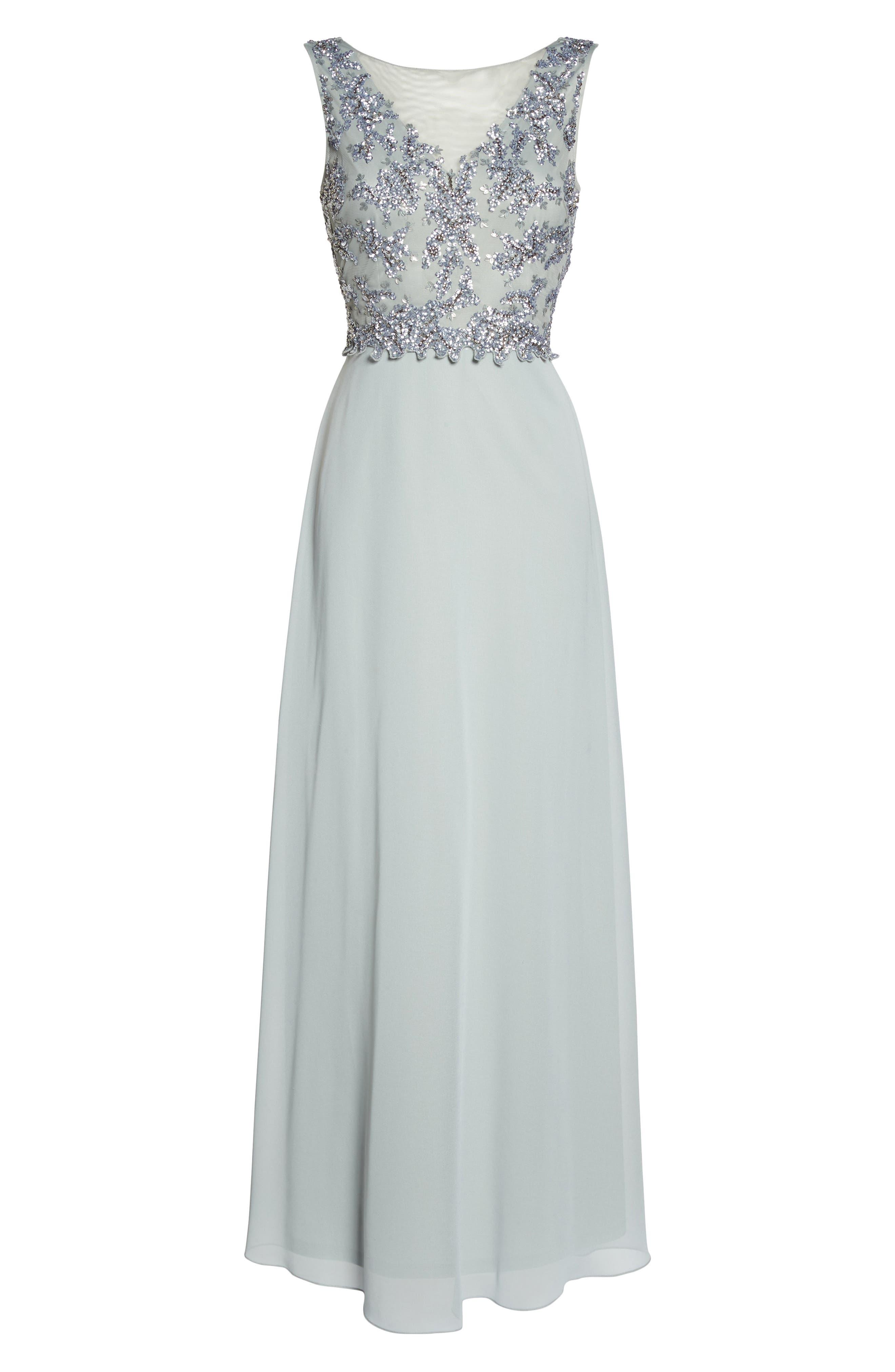 Embellished Mesh Bodice Gown,                             Alternate thumbnail 6, color,                             Blue Mist