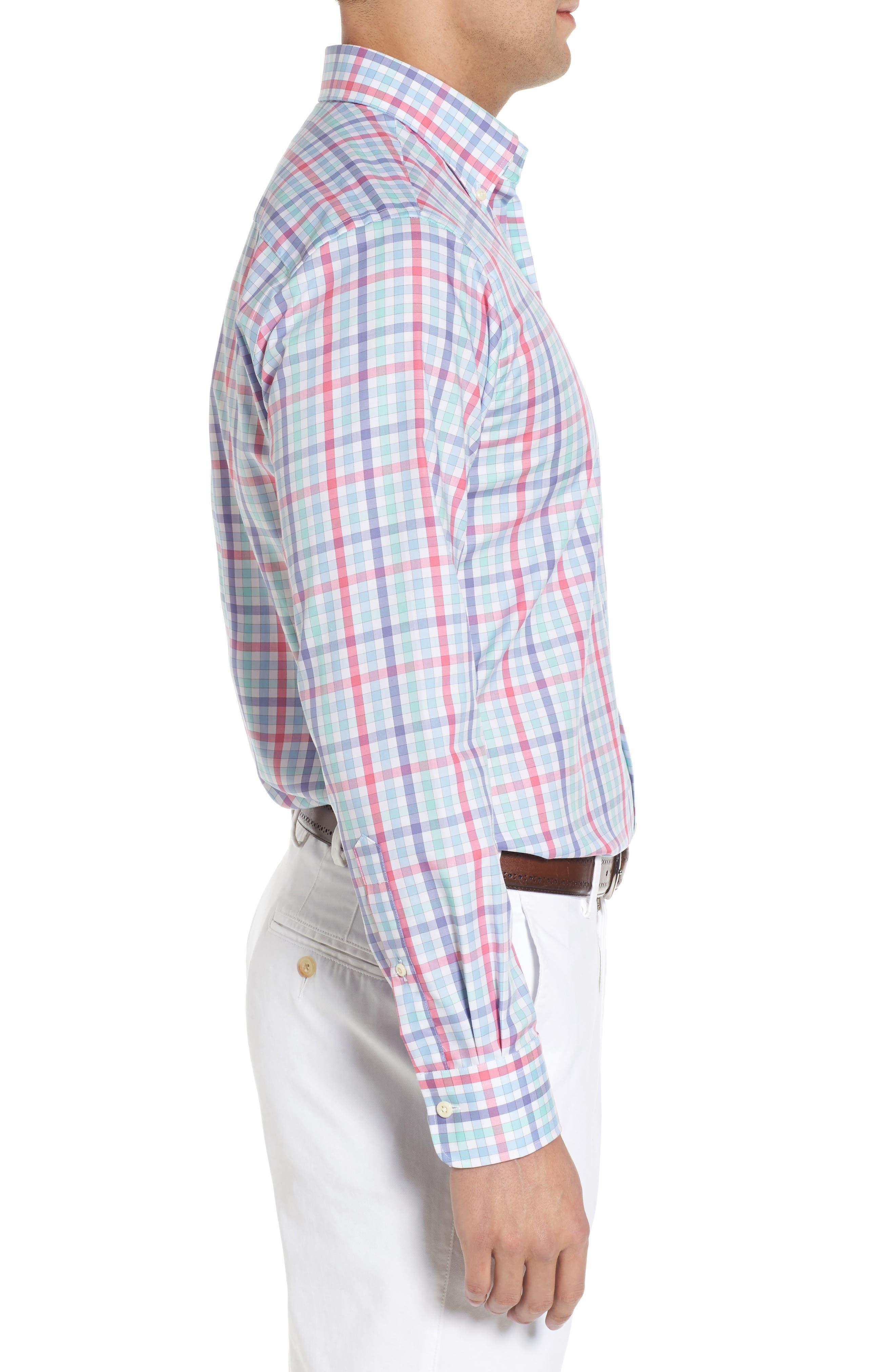 Crown Ease Habanero Regular Fit Check Sport Shirt,                             Alternate thumbnail 4, color,                             Tar Heel Blue