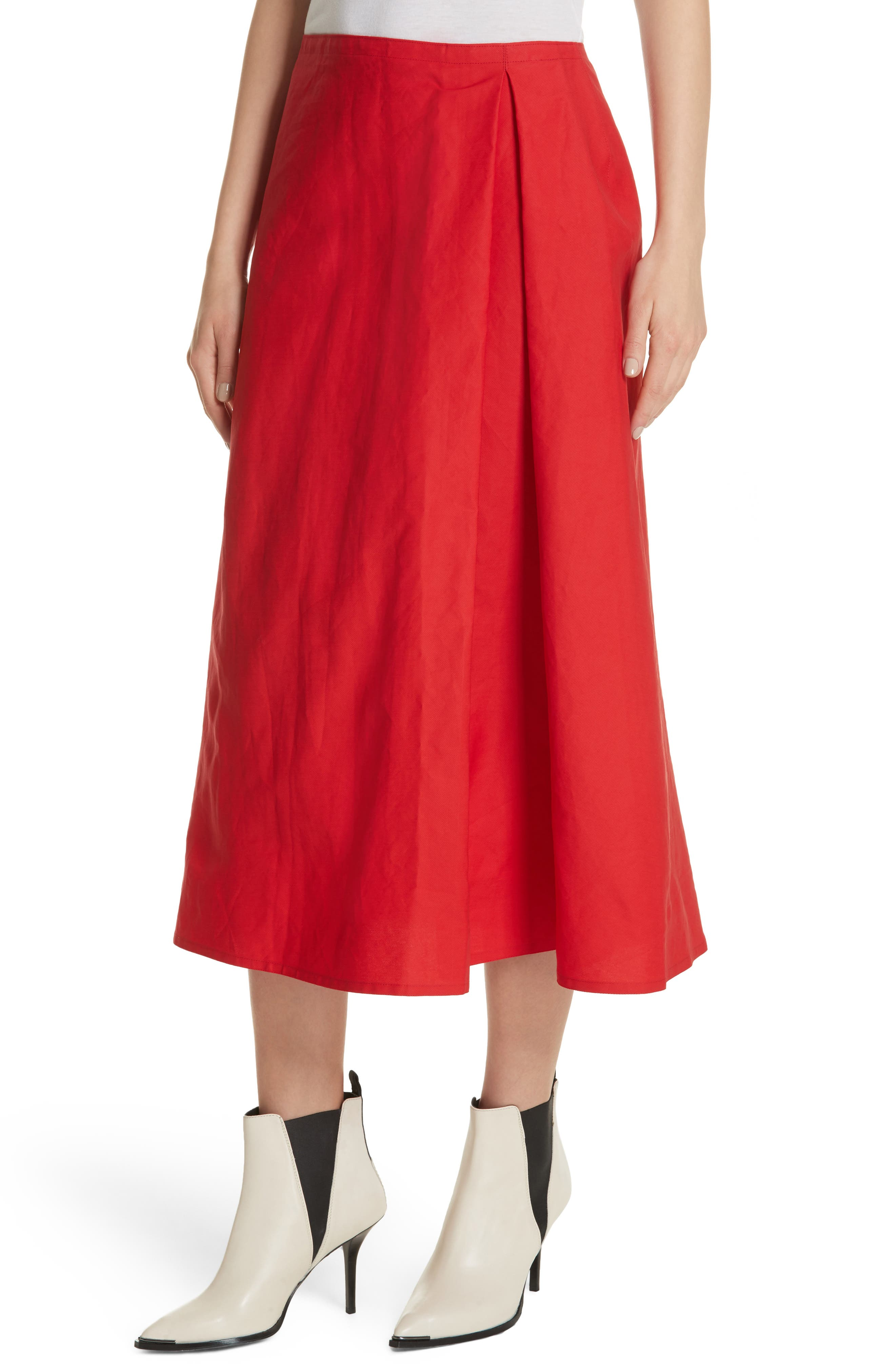 Faux Wrap Skirt,                             Alternate thumbnail 4, color,                             Red Pepper