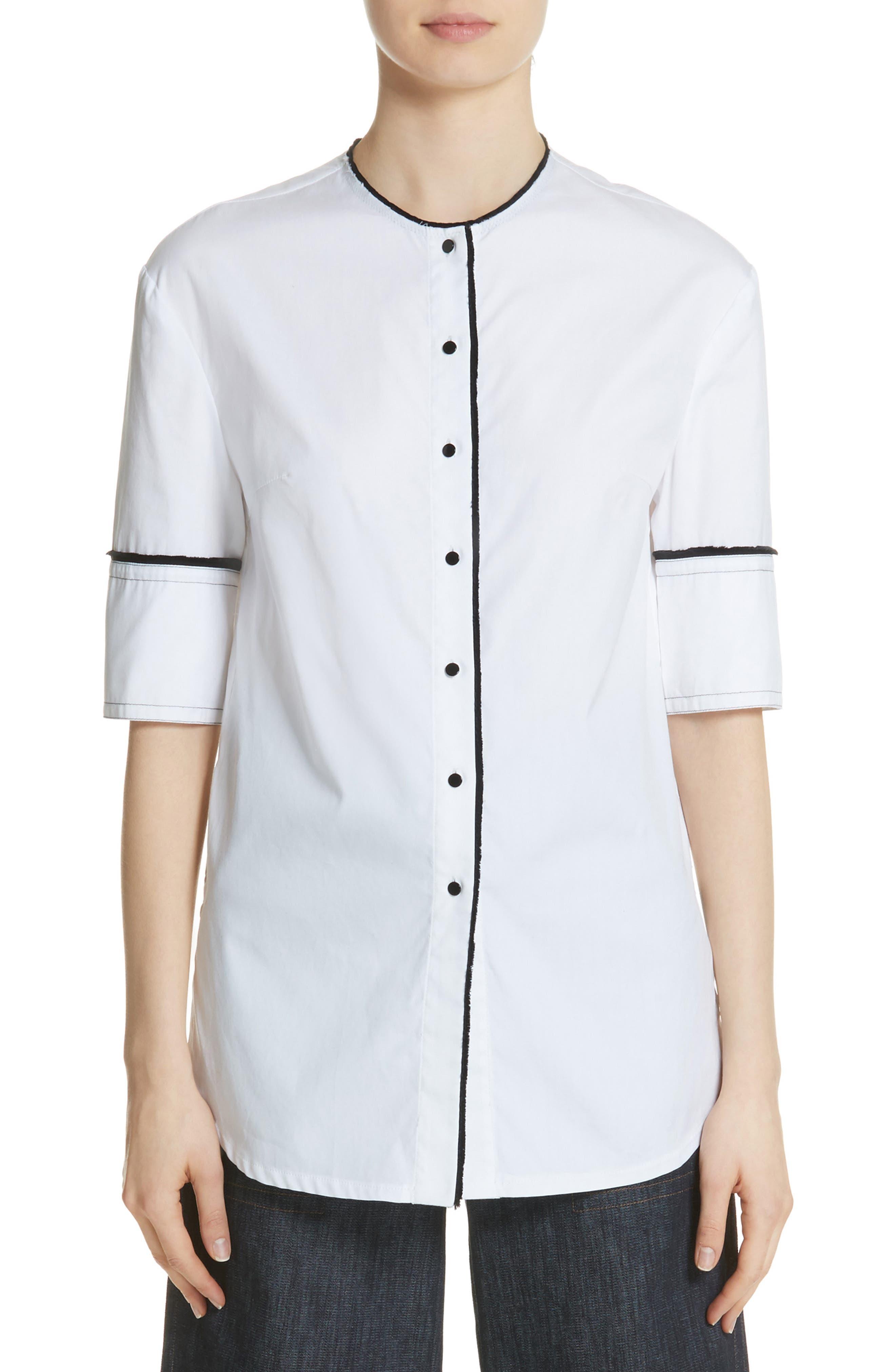 Crop Back Poplin Shirt,                         Main,                         color, White