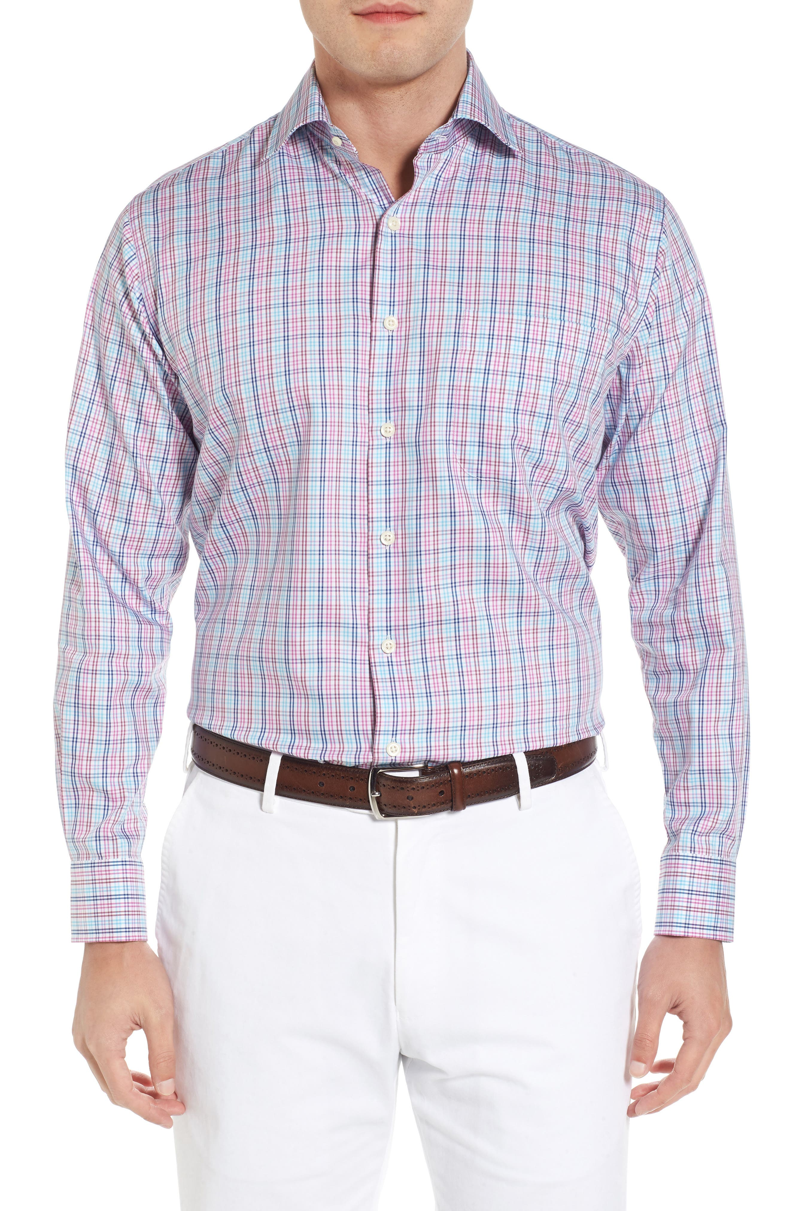 Crown Soft Daybreak Regular Fit Check Sport Shirt,                         Main,                         color, Urchin