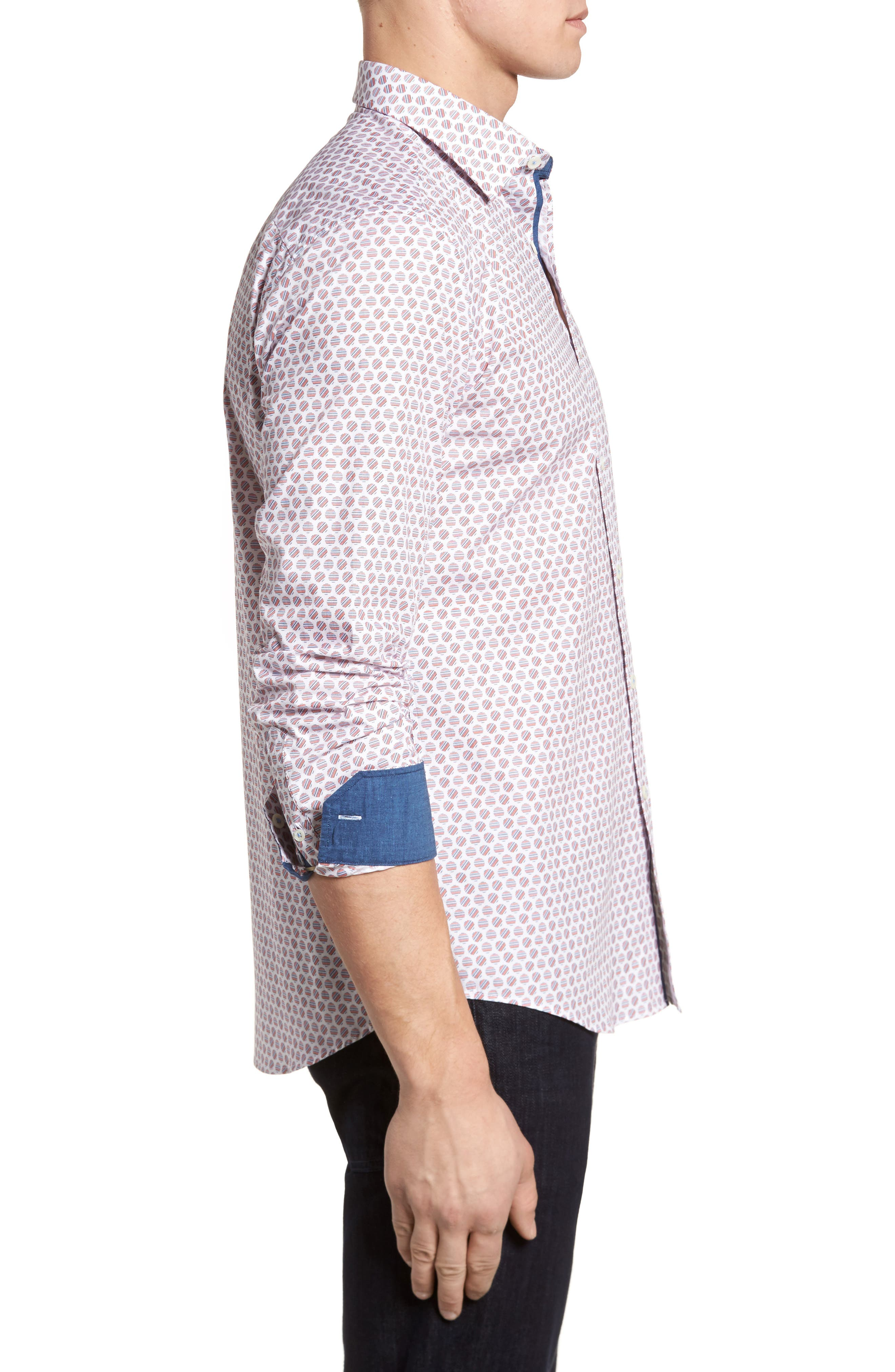 Slim Fit Circle Print Sport Shirt,                             Alternate thumbnail 3, color,                             Pimento
