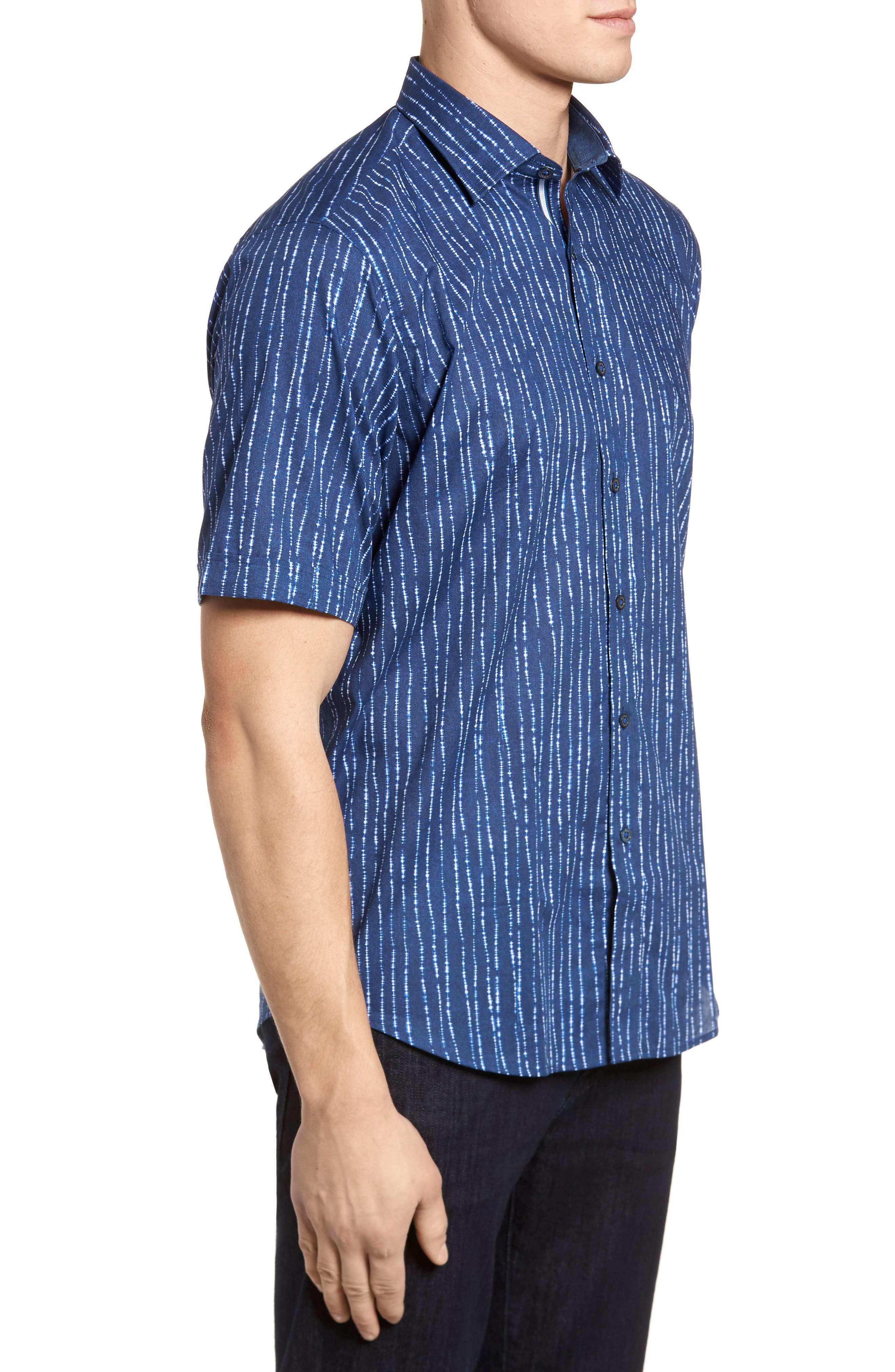 Freehand Tie Dye Lines Classic Fit Sport Shirt,                             Alternate thumbnail 3, color,                             Navy