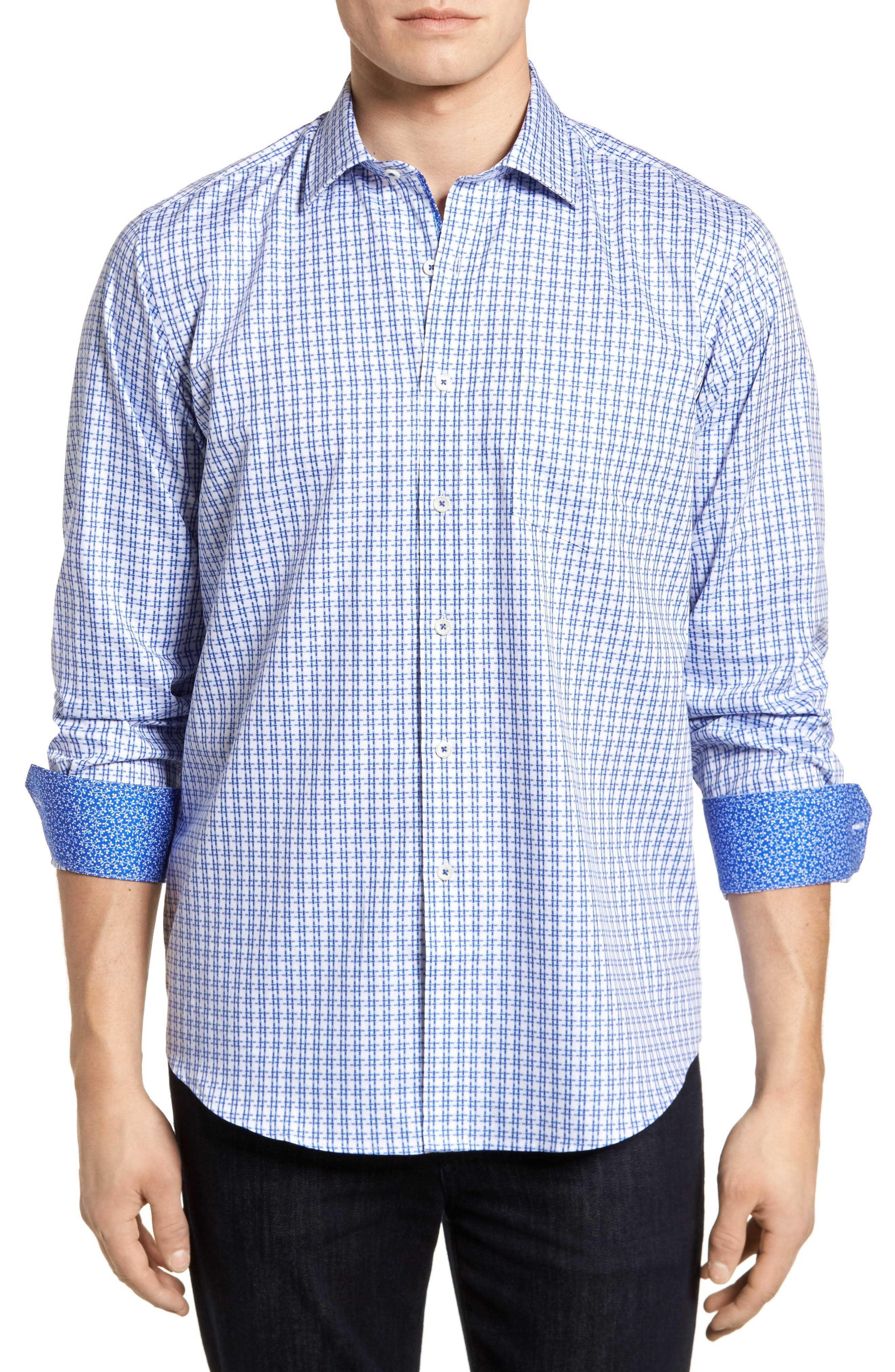 Double Stripe Classic Fit Sport Shirt,                         Main,                         color, Navy
