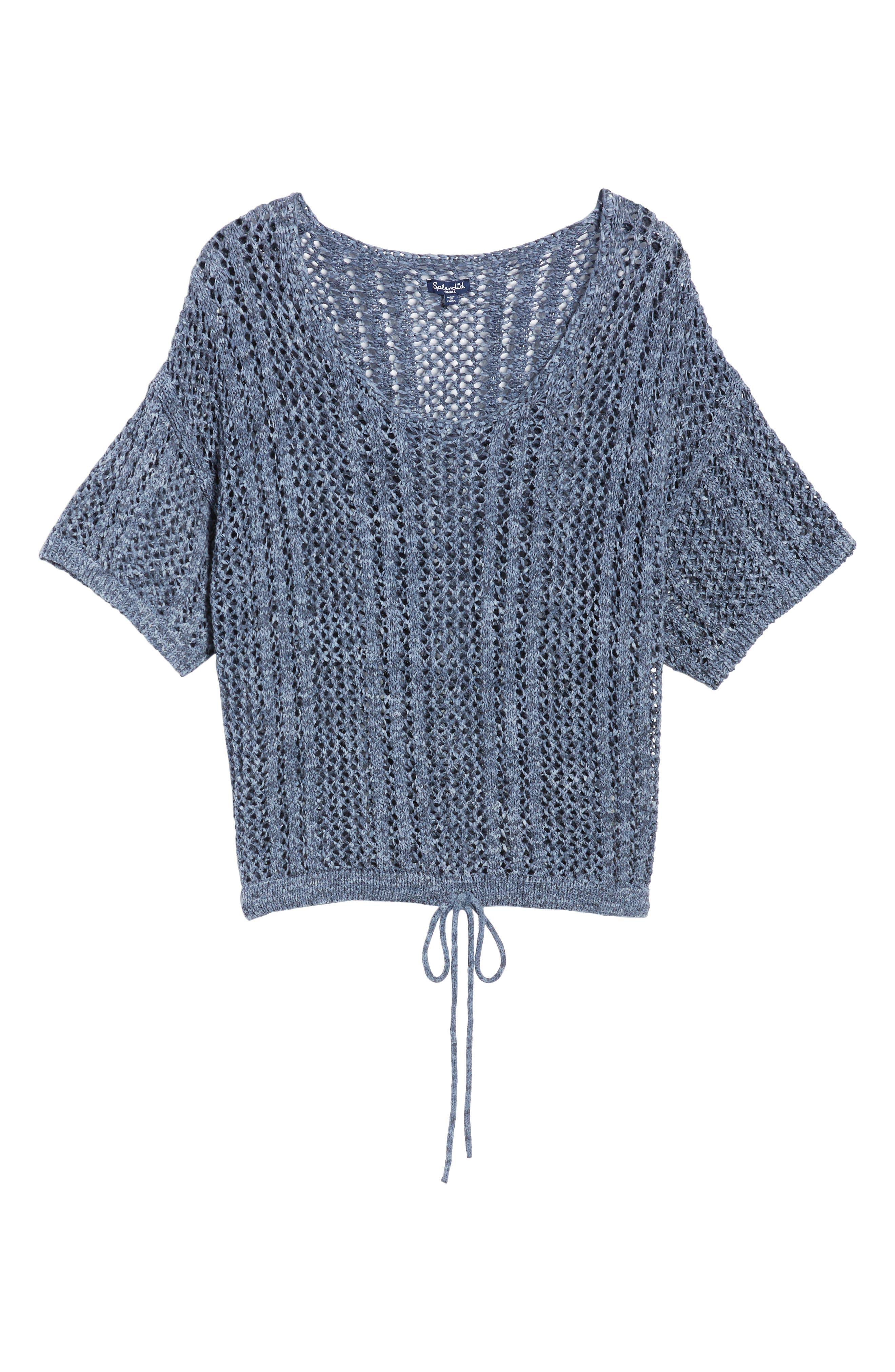 Knox Crochet Sweater,                             Alternate thumbnail 6, color,                             Navy