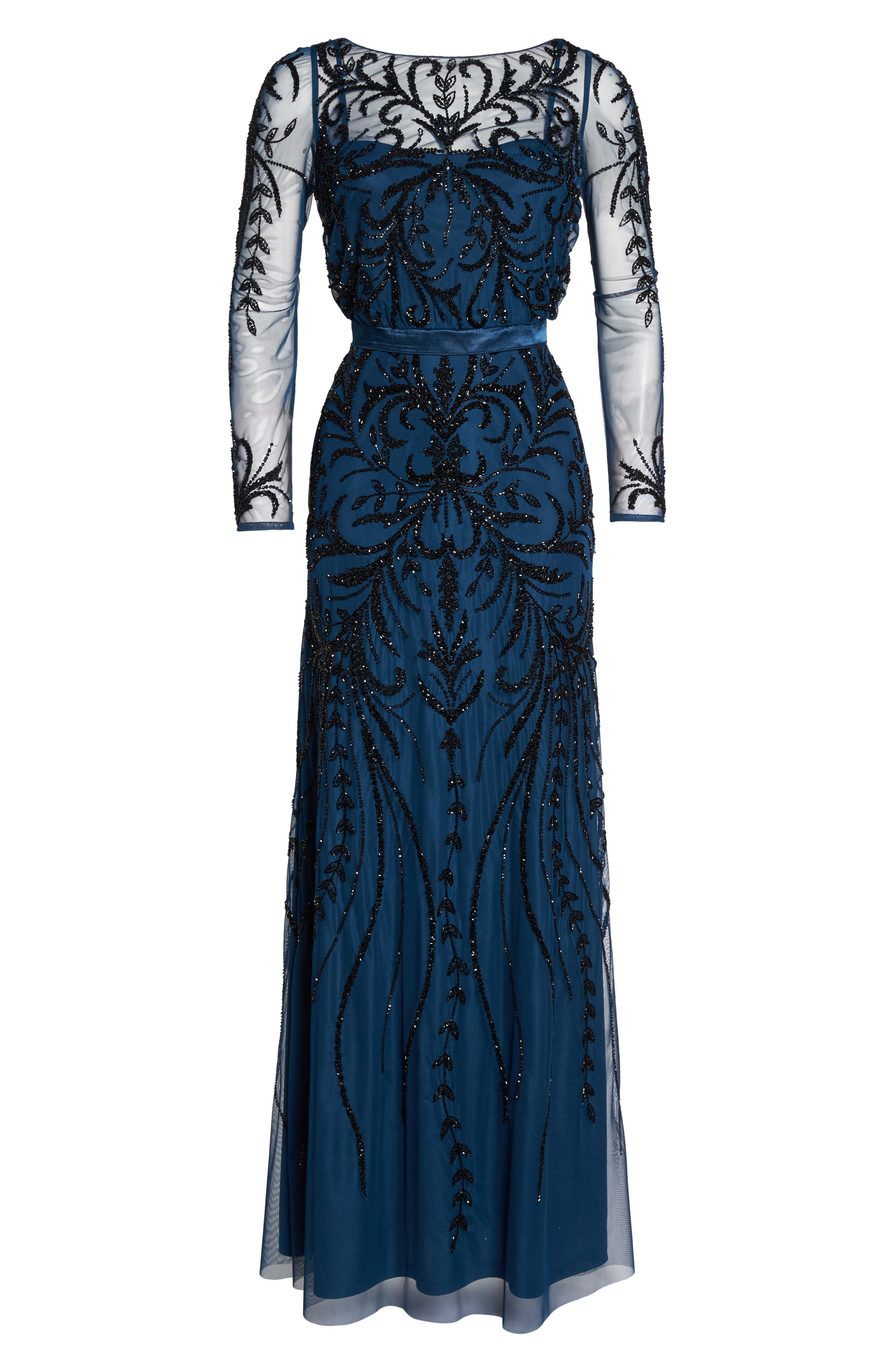 Embellished Long Sleeve Gown,                             Alternate thumbnail 6, color,                             Deep Blue