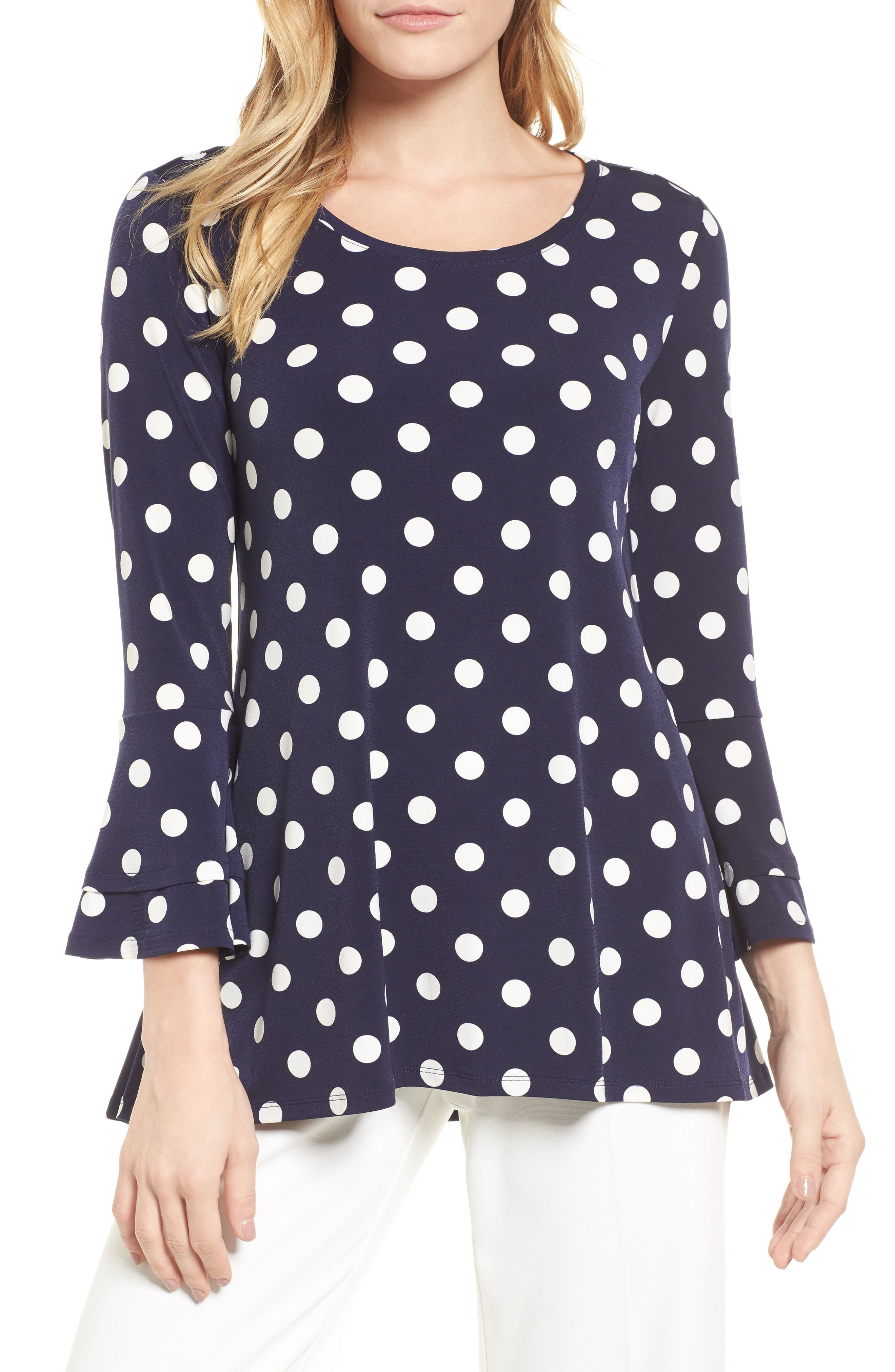 Dot Print Bell Sleeve Blouse,                         Main,                         color, 529-Evening Navy
