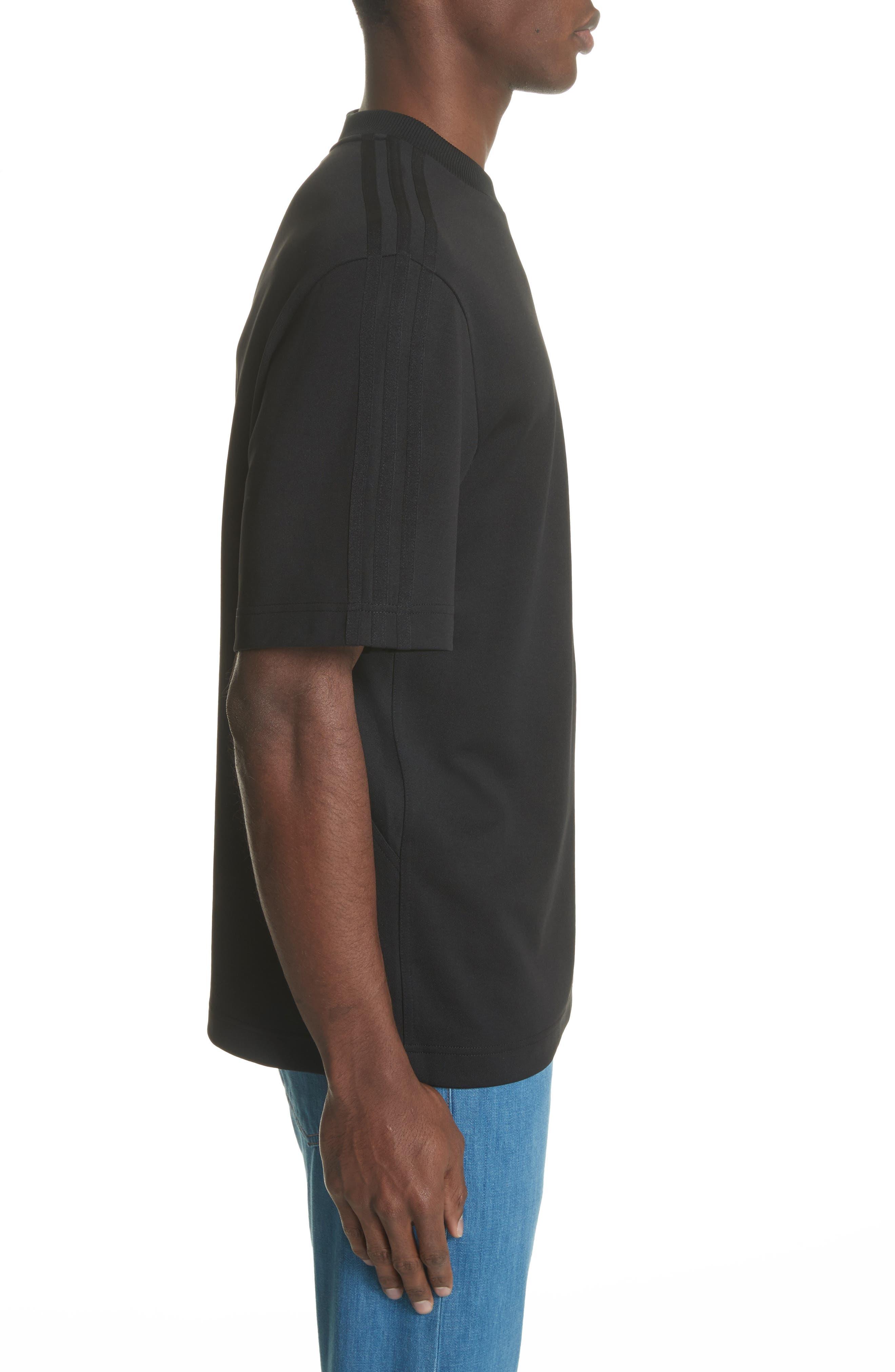White Stripe Crewneck T-Shirt,                             Alternate thumbnail 3, color,                             Black