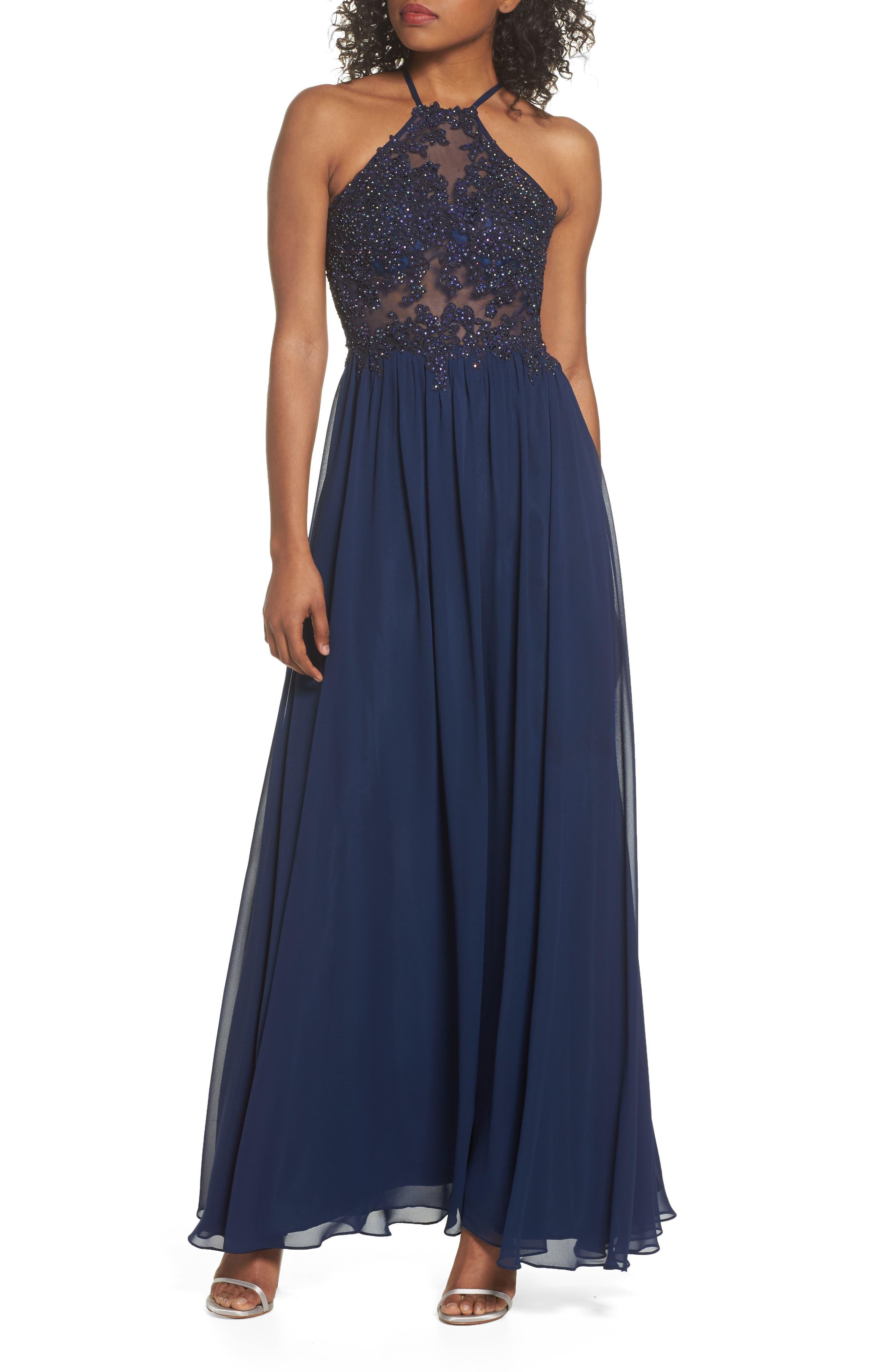 Appliqué Illusion Gown,                         Main,                         color, Navy