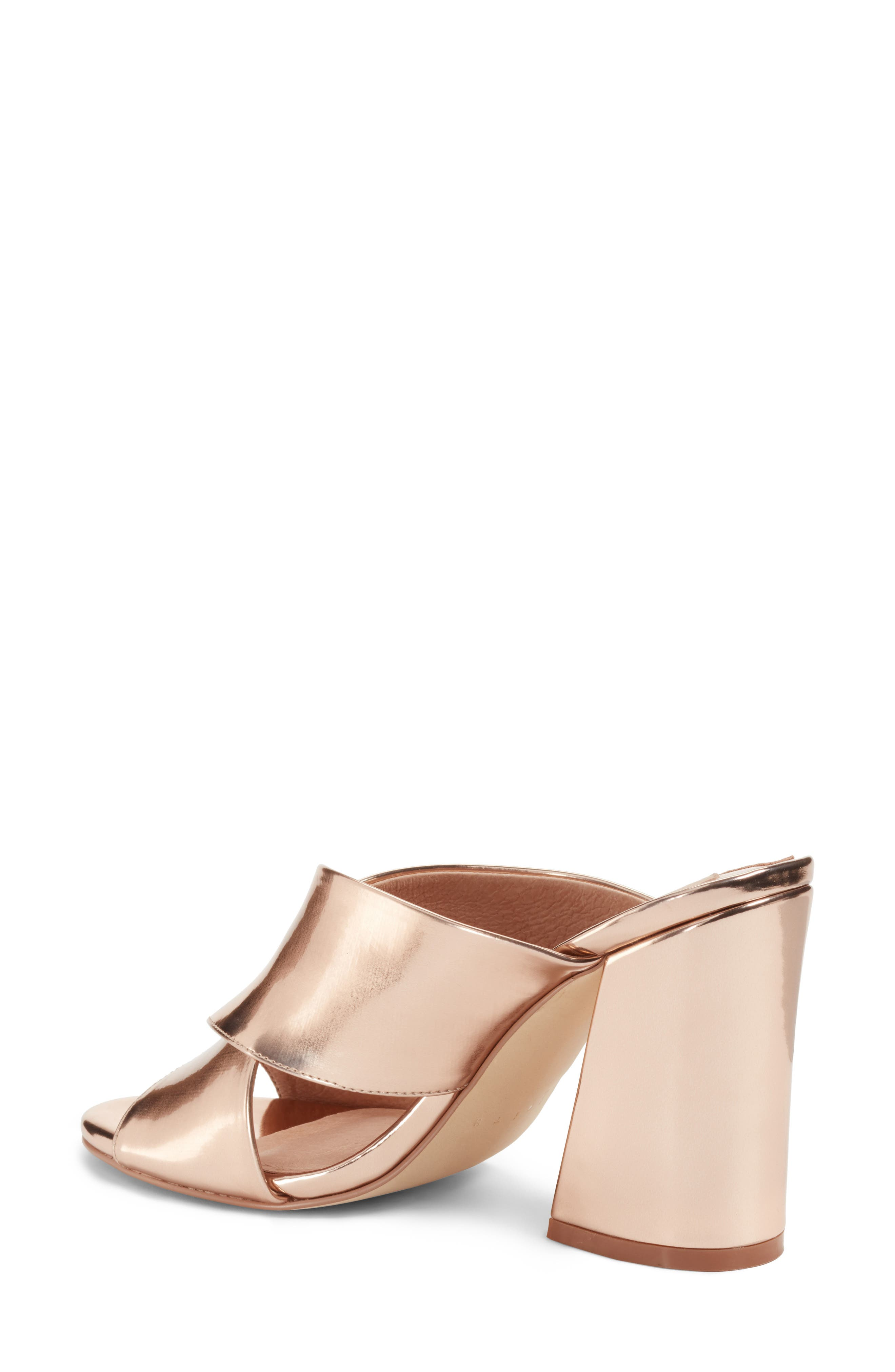 Cammie Block Heel Sandal,                             Alternate thumbnail 2, color,                             Rosegold Metallic Faux Leather