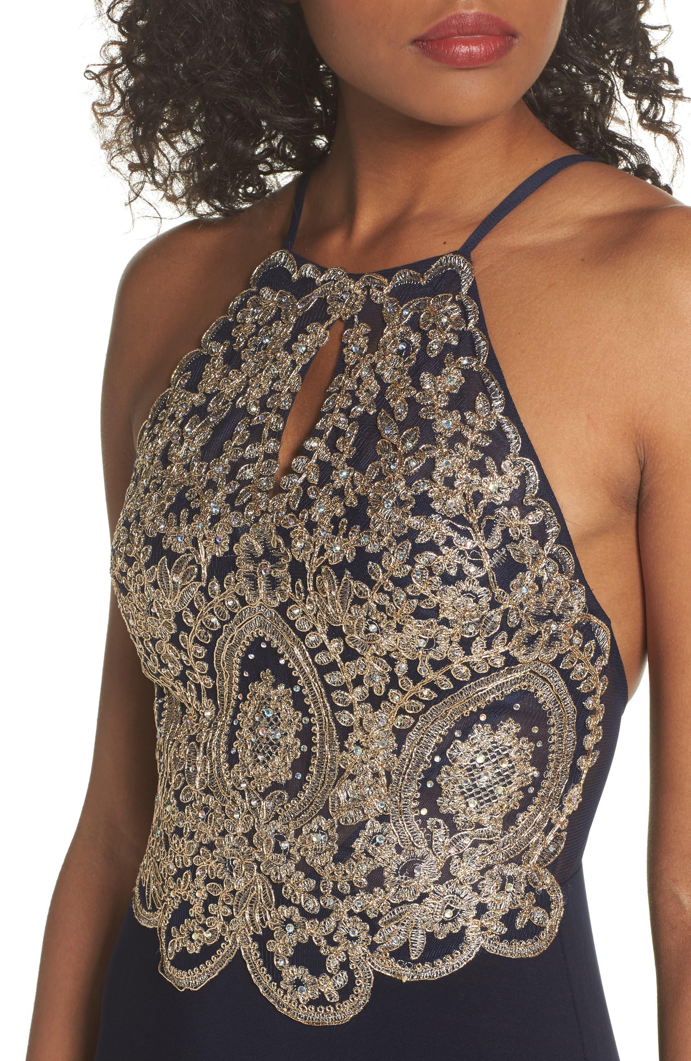 Embellished Appliqué Halter Gown,                             Alternate thumbnail 4, color,                             Navy/ Gold