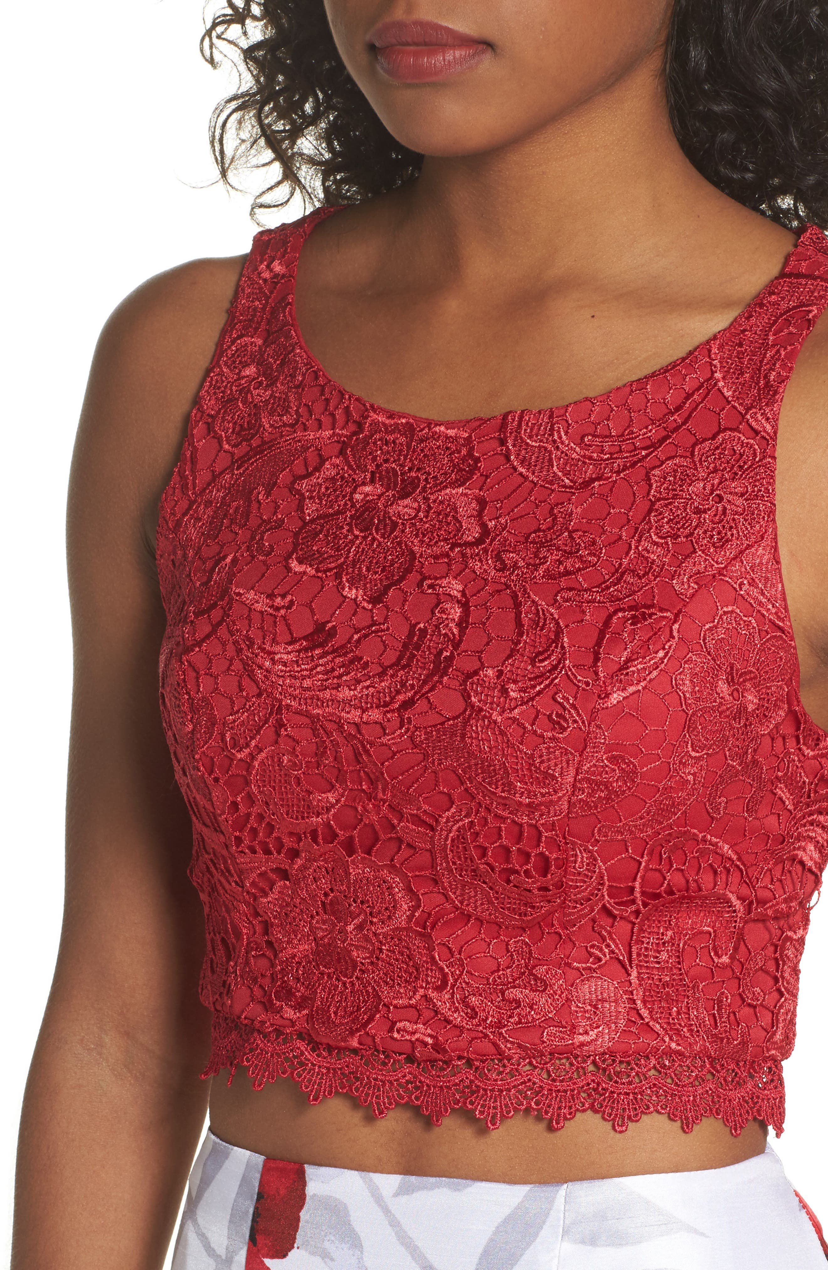 Lace & Print Shantung Two-Piece Gown,                             Alternate thumbnail 4, color,                             Ivory/ Red