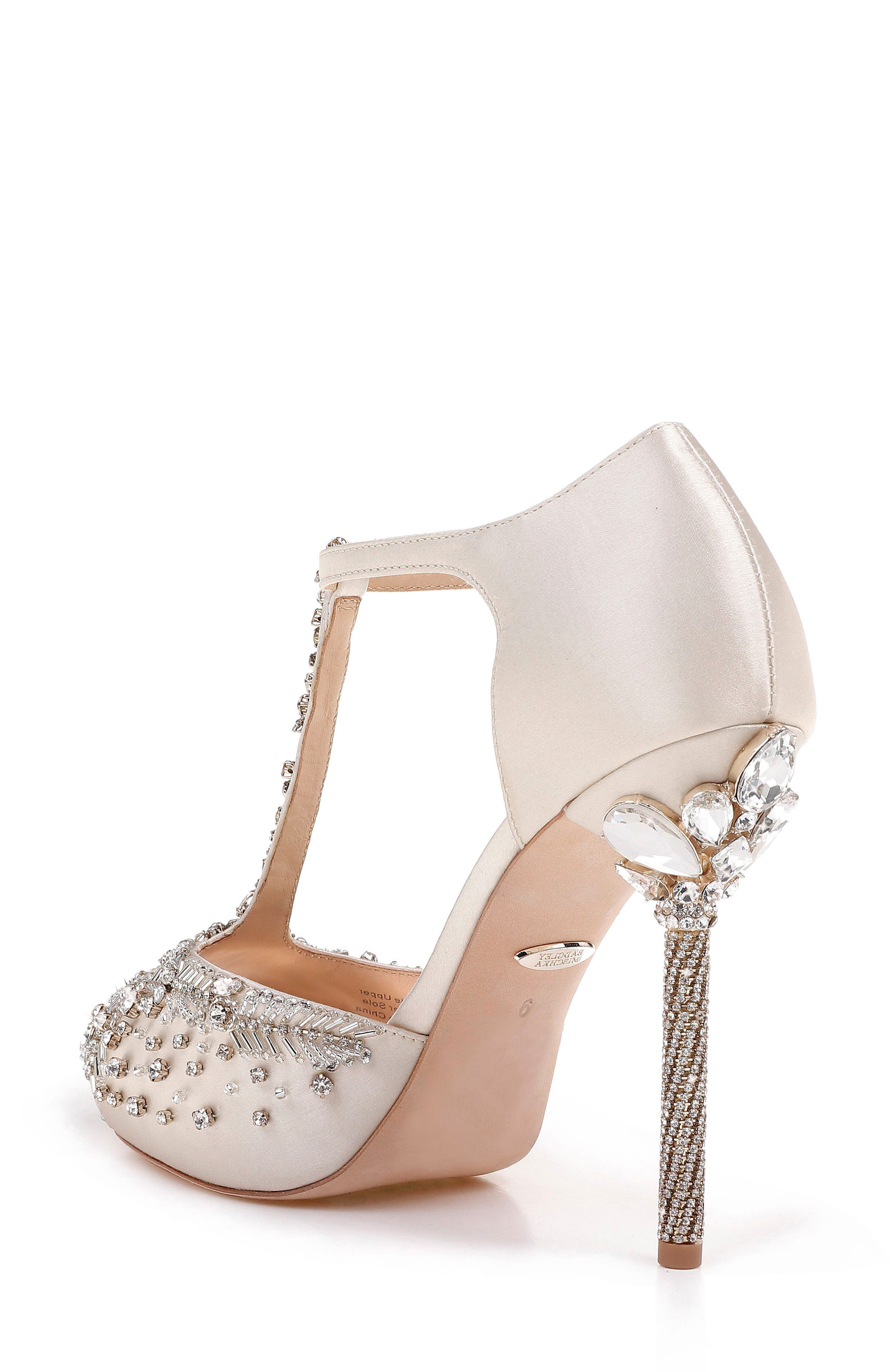 Stacey Crystal Embellished T-Strap Sandal,                             Alternate thumbnail 2, color,                             Ivory Satin
