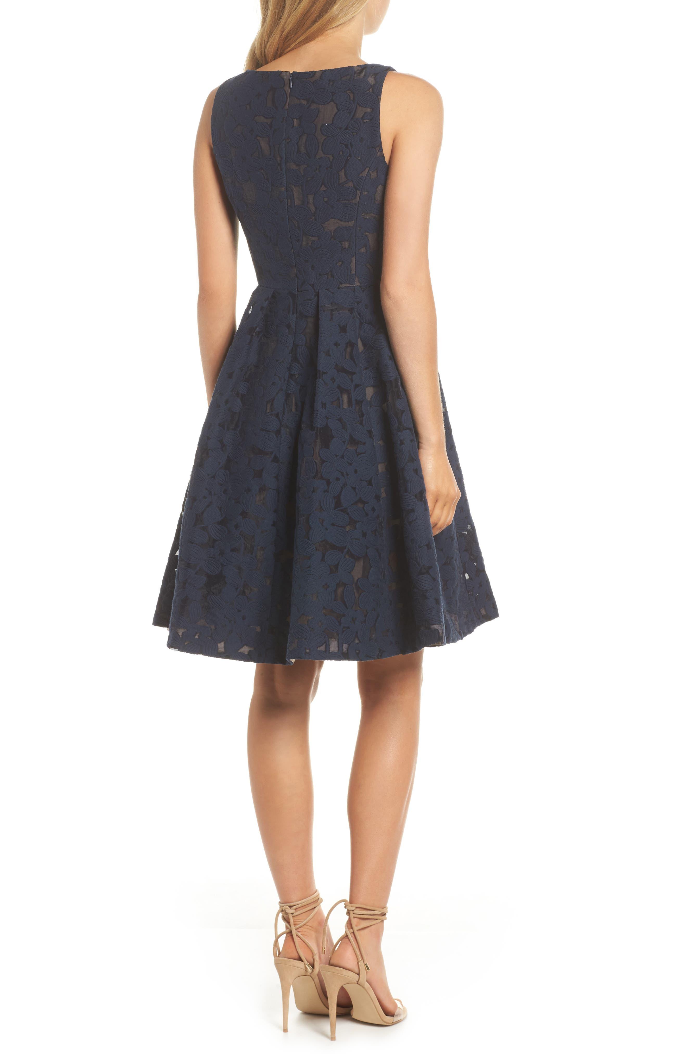 Fit & Flare Dress,                             Alternate thumbnail 2, color,                             Dark Navy