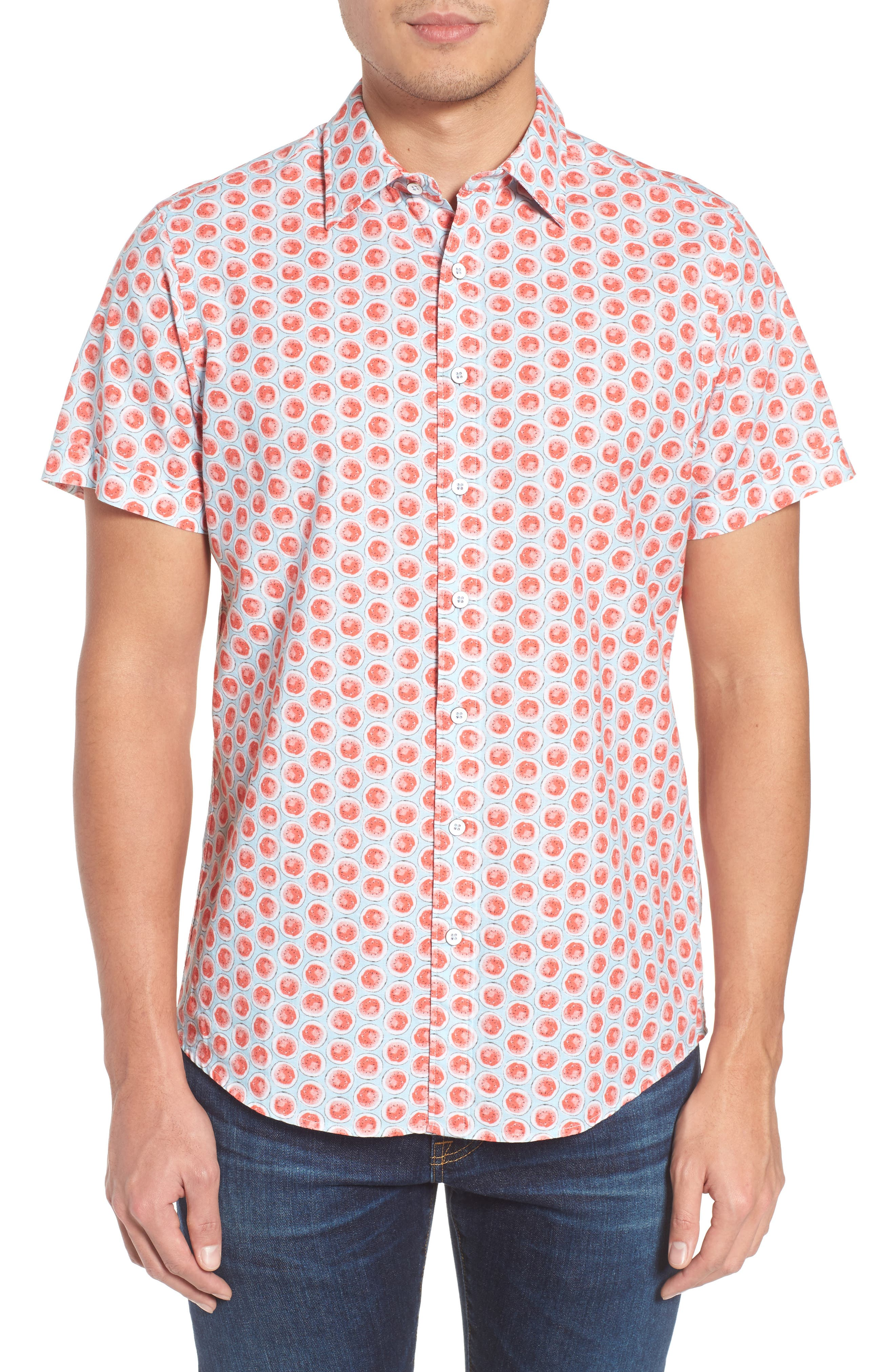 Mellons Bay Regular Fit Sport Shirt,                             Main thumbnail 1, color,                             Watermelon