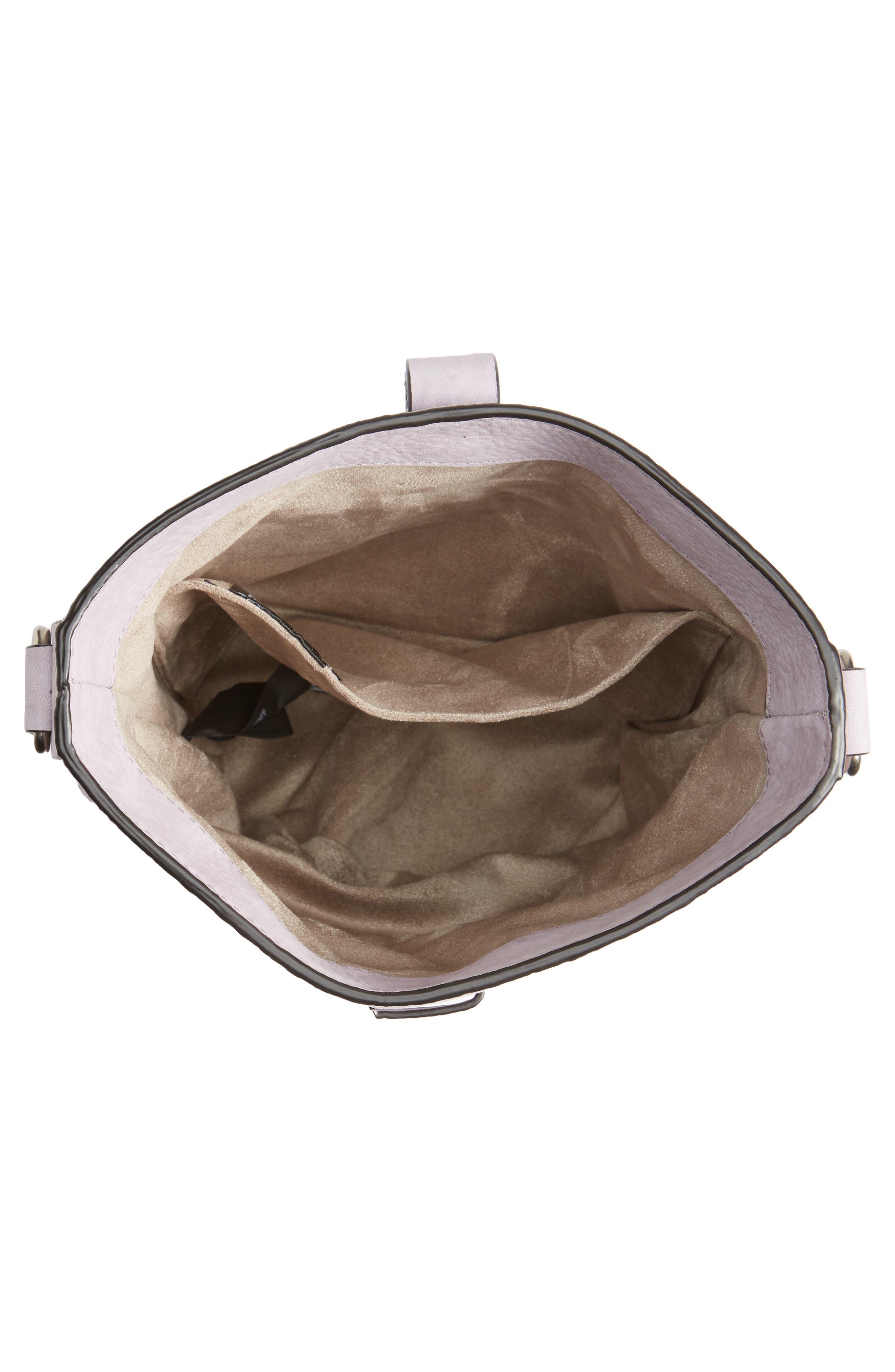 Slim Leather Bucket Bag,                             Alternate thumbnail 6, color,                             Violino