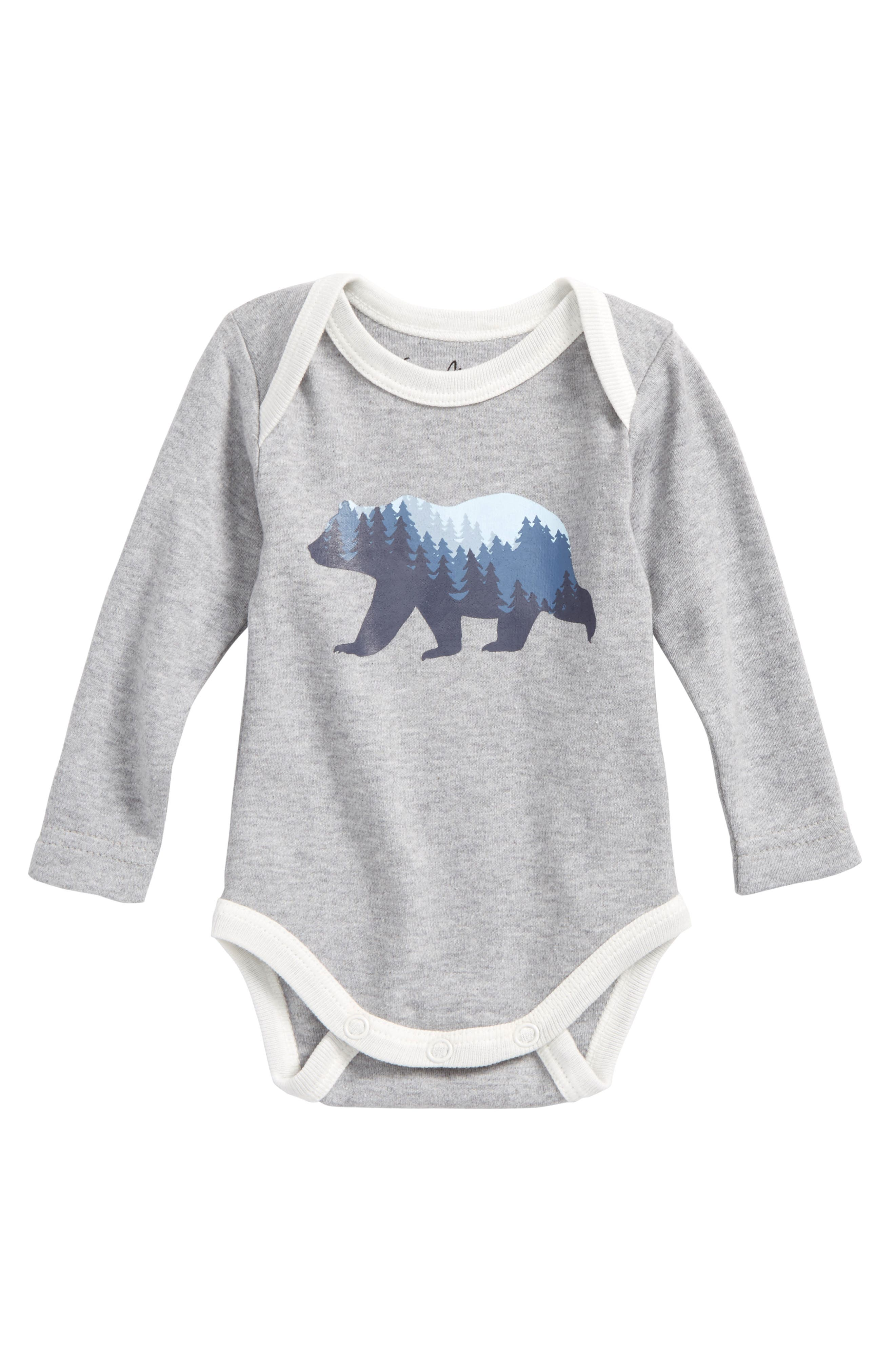 Bear Graphic Organic Cotton Bodysuit,                         Main,                         color, Heather Grey