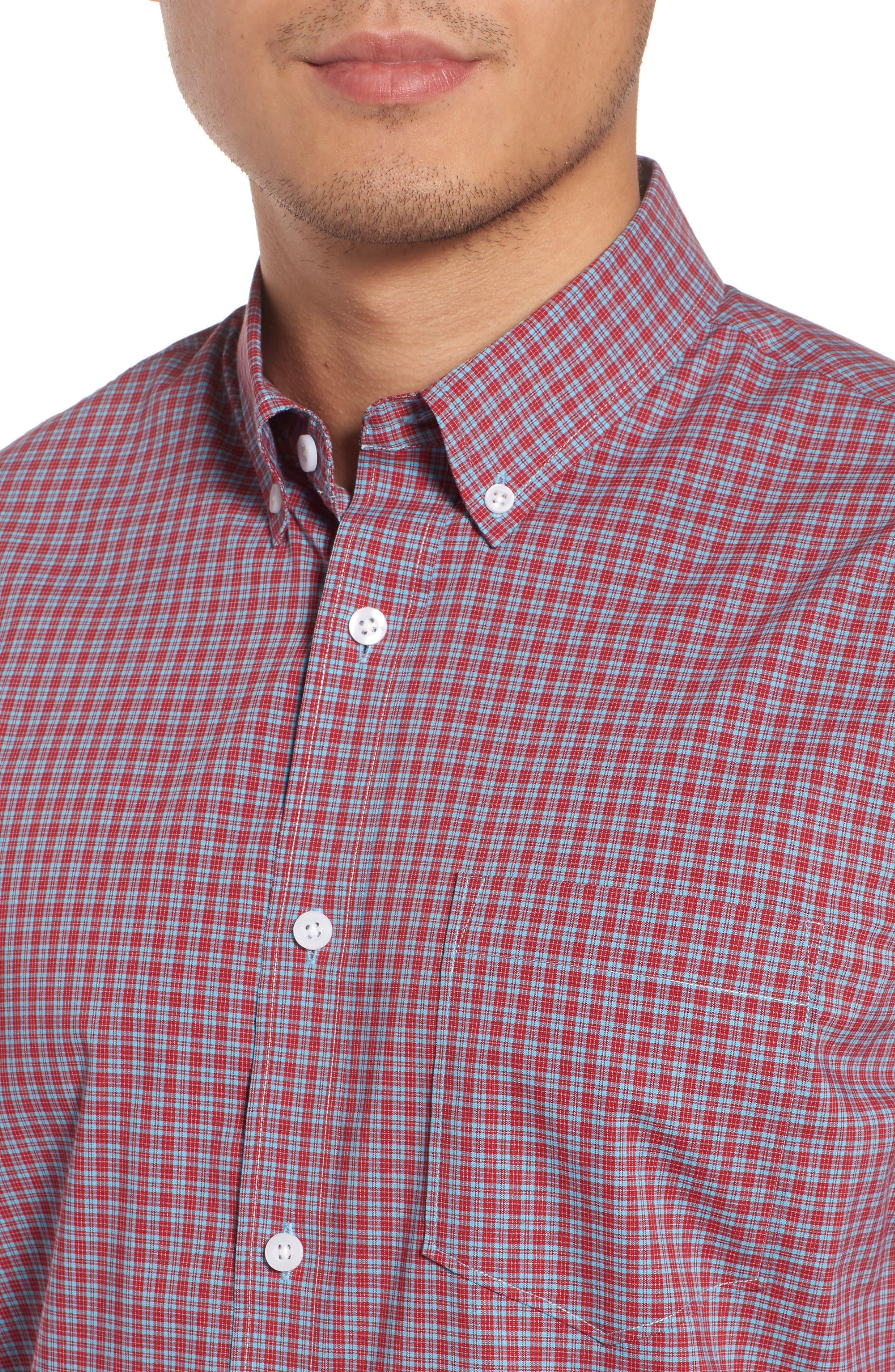 Tech-Smart Trim Fit Check Sport Shirt,                             Alternate thumbnail 2, color,                             Red Pompeii Blue Micro Check