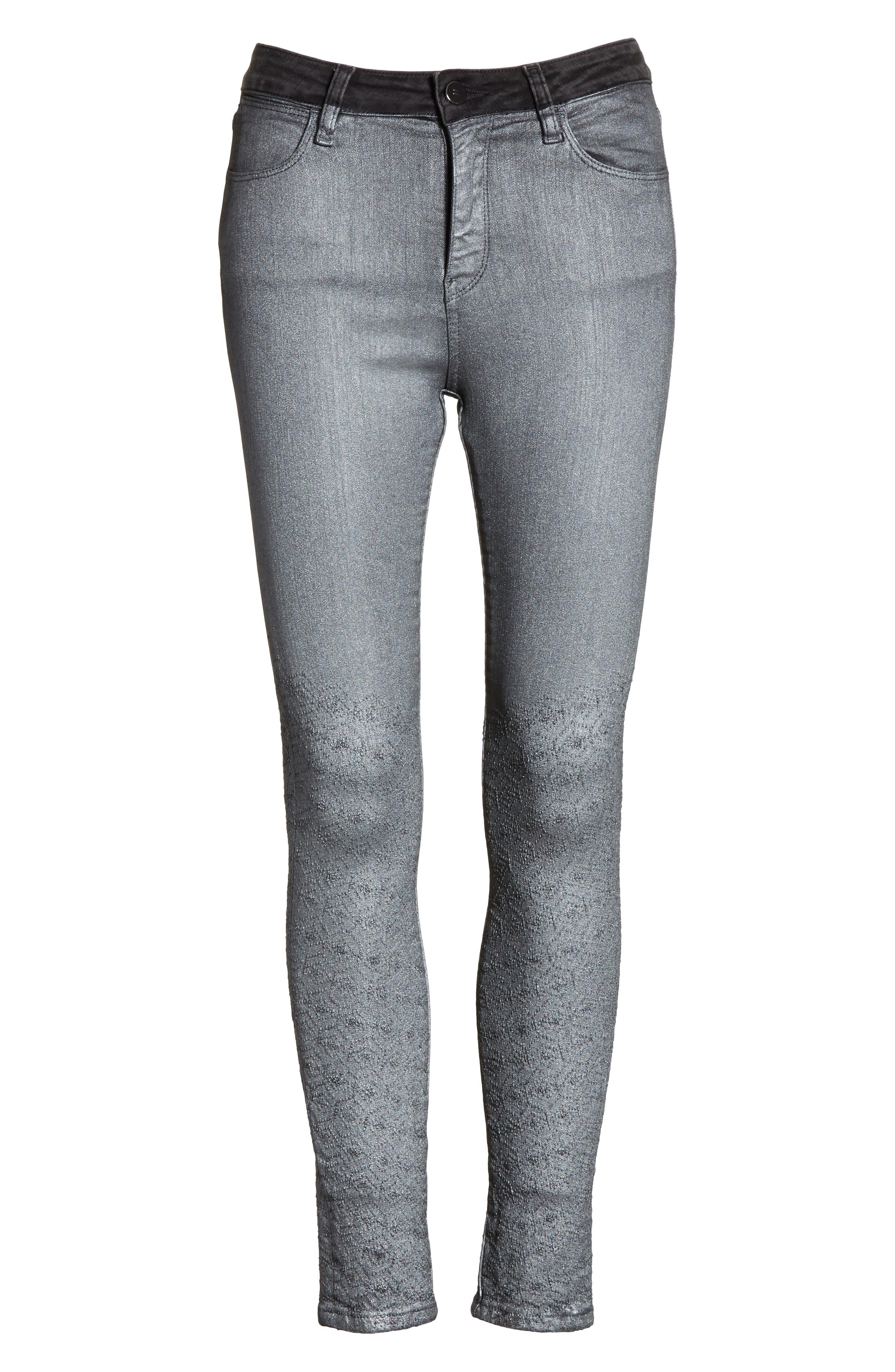 Reina Glitter Skinny Jeans,                             Alternate thumbnail 6, color,                             Black Used Glitter Silver