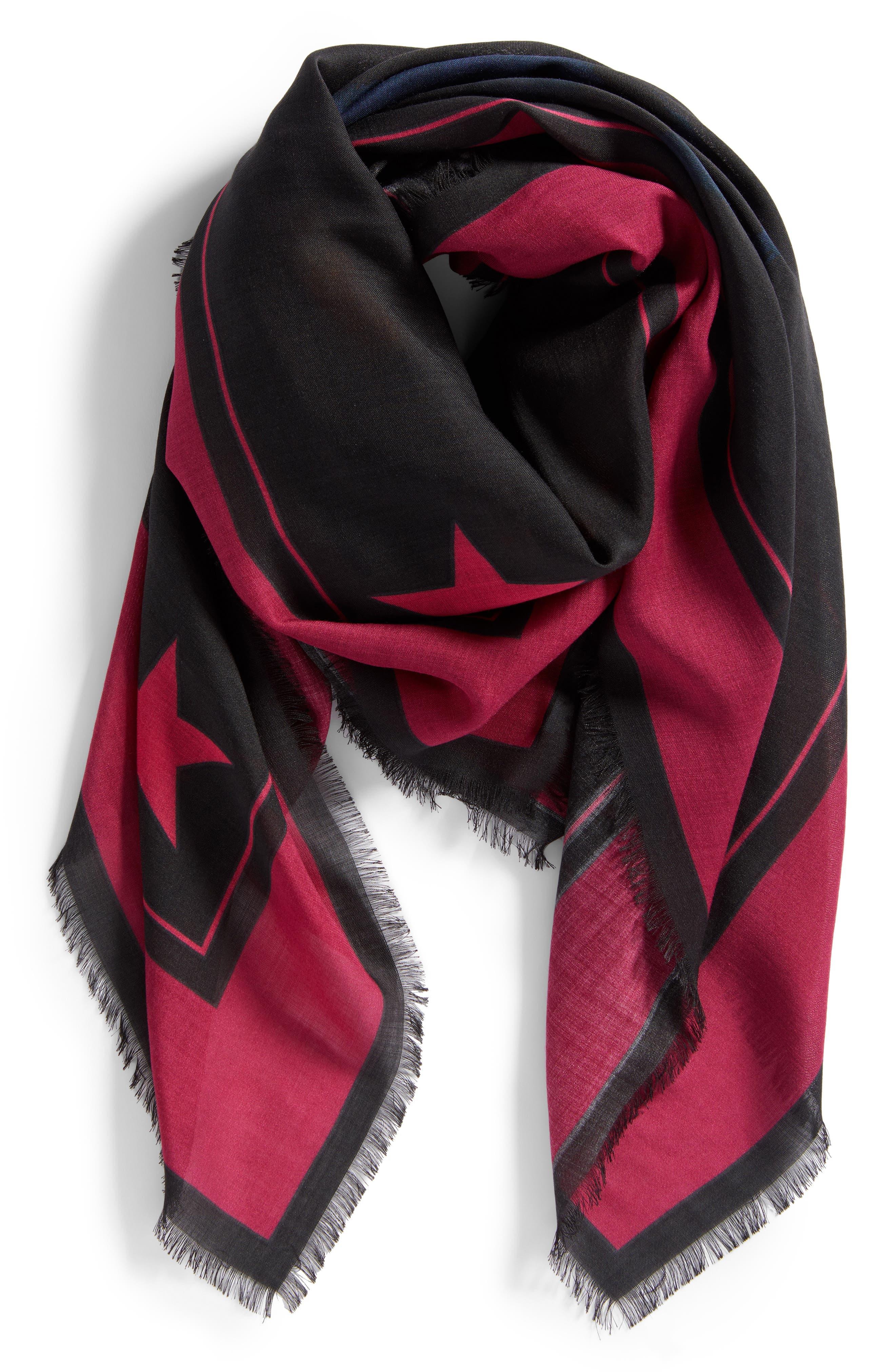 Rottweiler Wool & Silk Square Scarf,                             Alternate thumbnail 3, color,                             Black