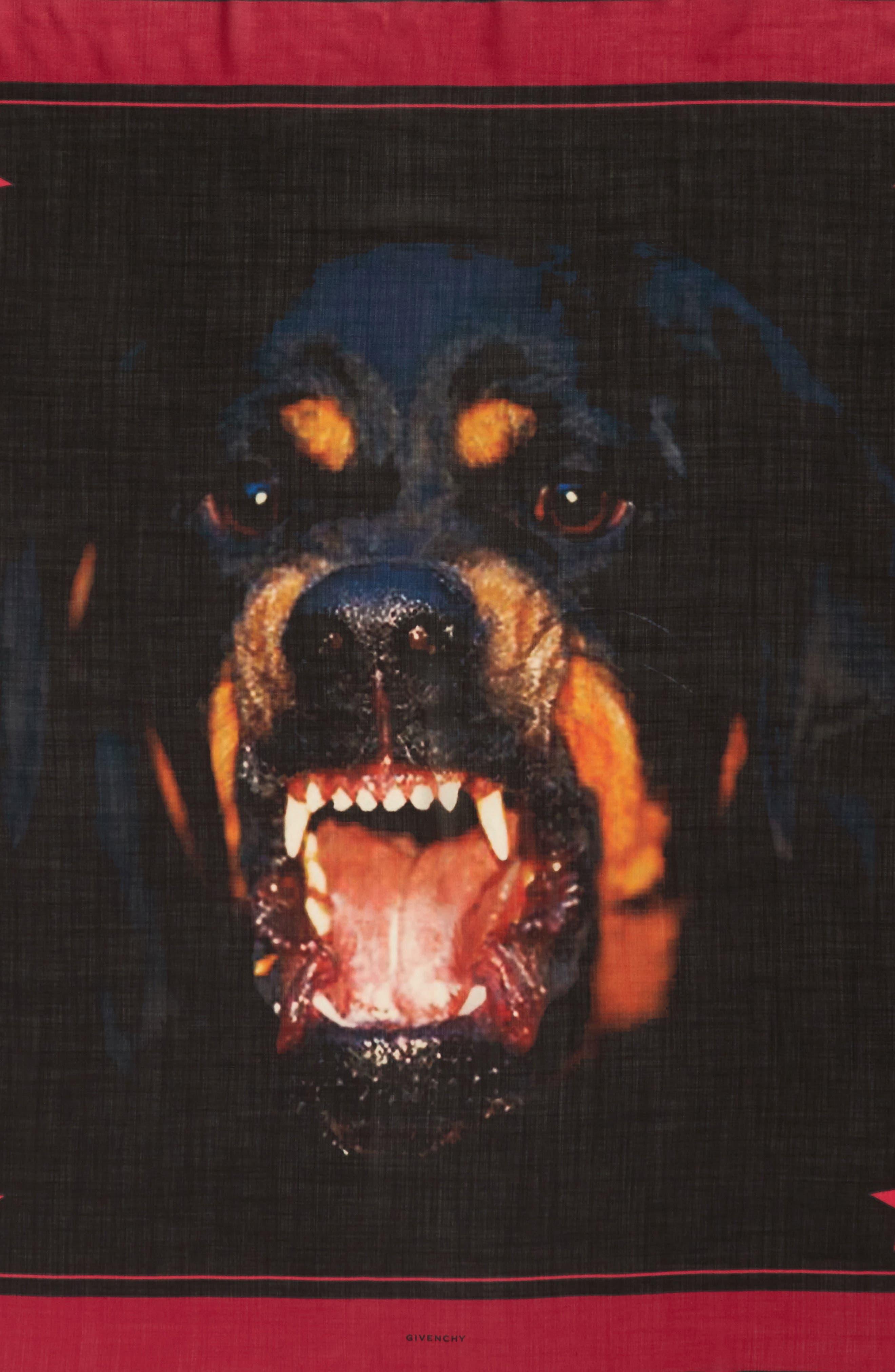 Rottweiler Wool & Silk Square Scarf,                             Alternate thumbnail 4, color,                             Black