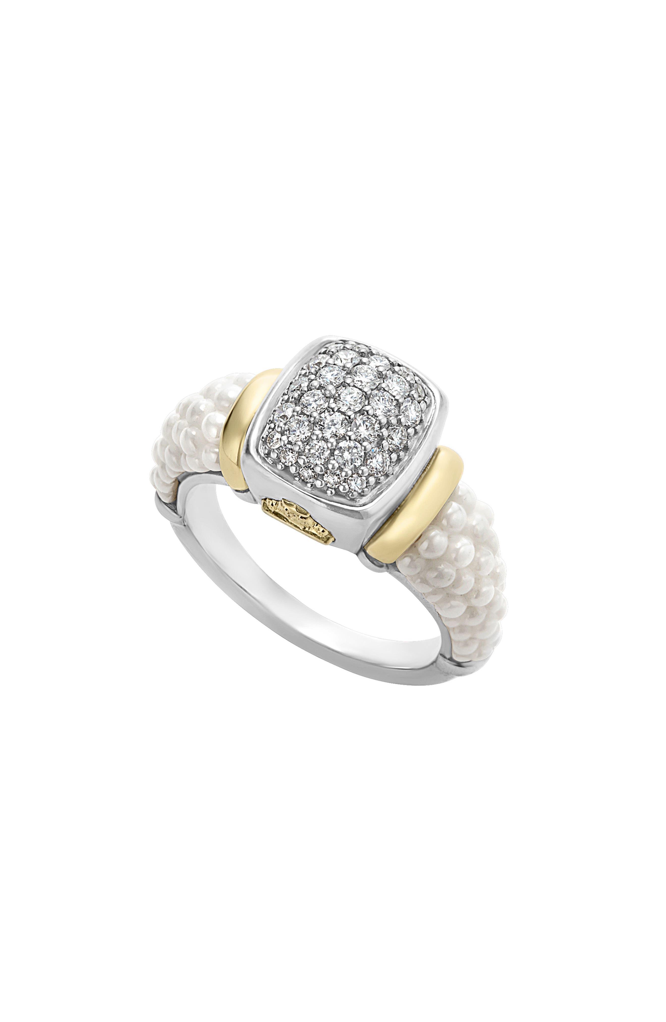 'Caviar' Diamond Ring,                         Main,                         color, White/ Gold