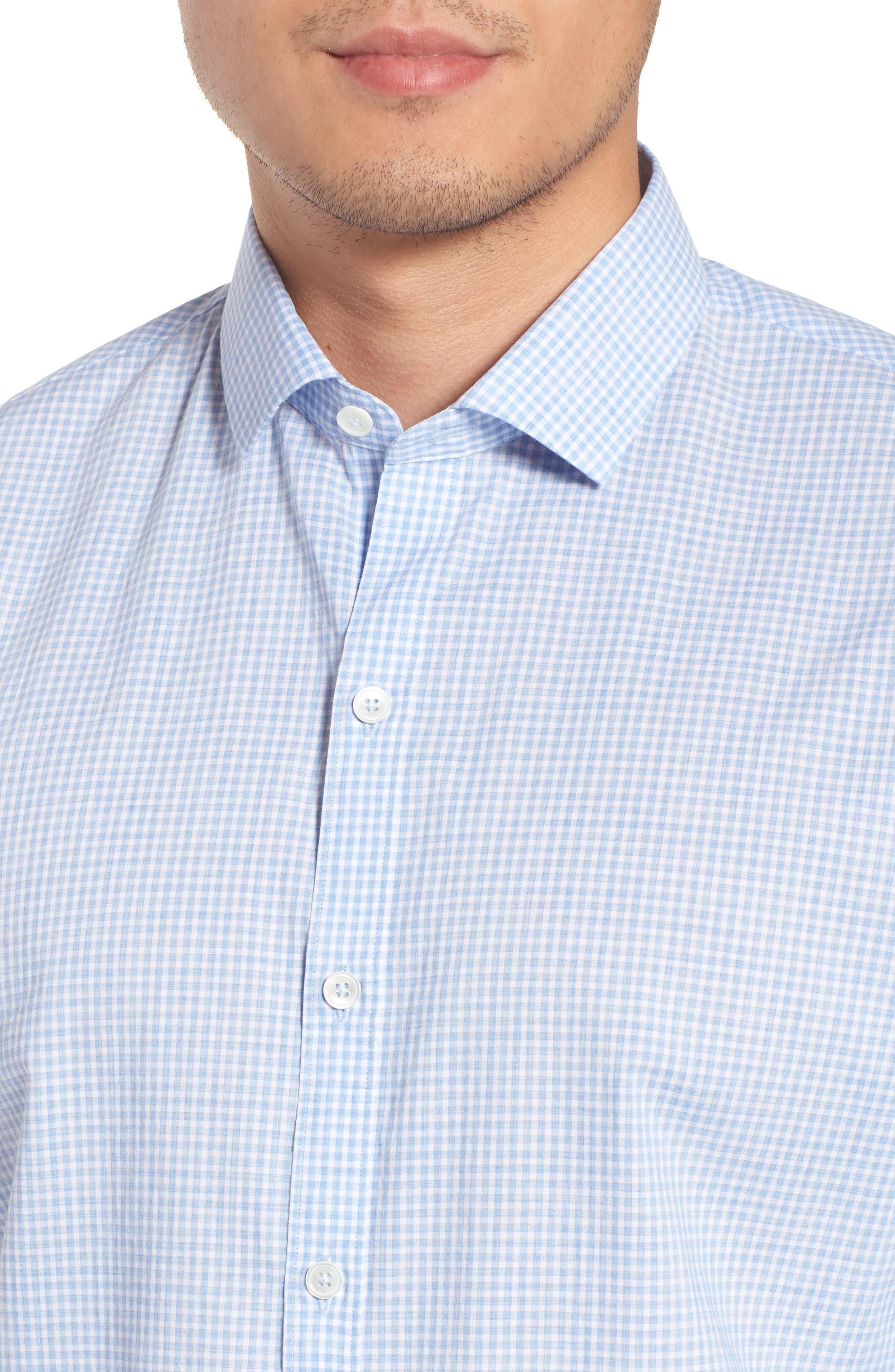 McGarry Gingham Sport Shirt,                             Alternate thumbnail 4, color,                             Light Blue