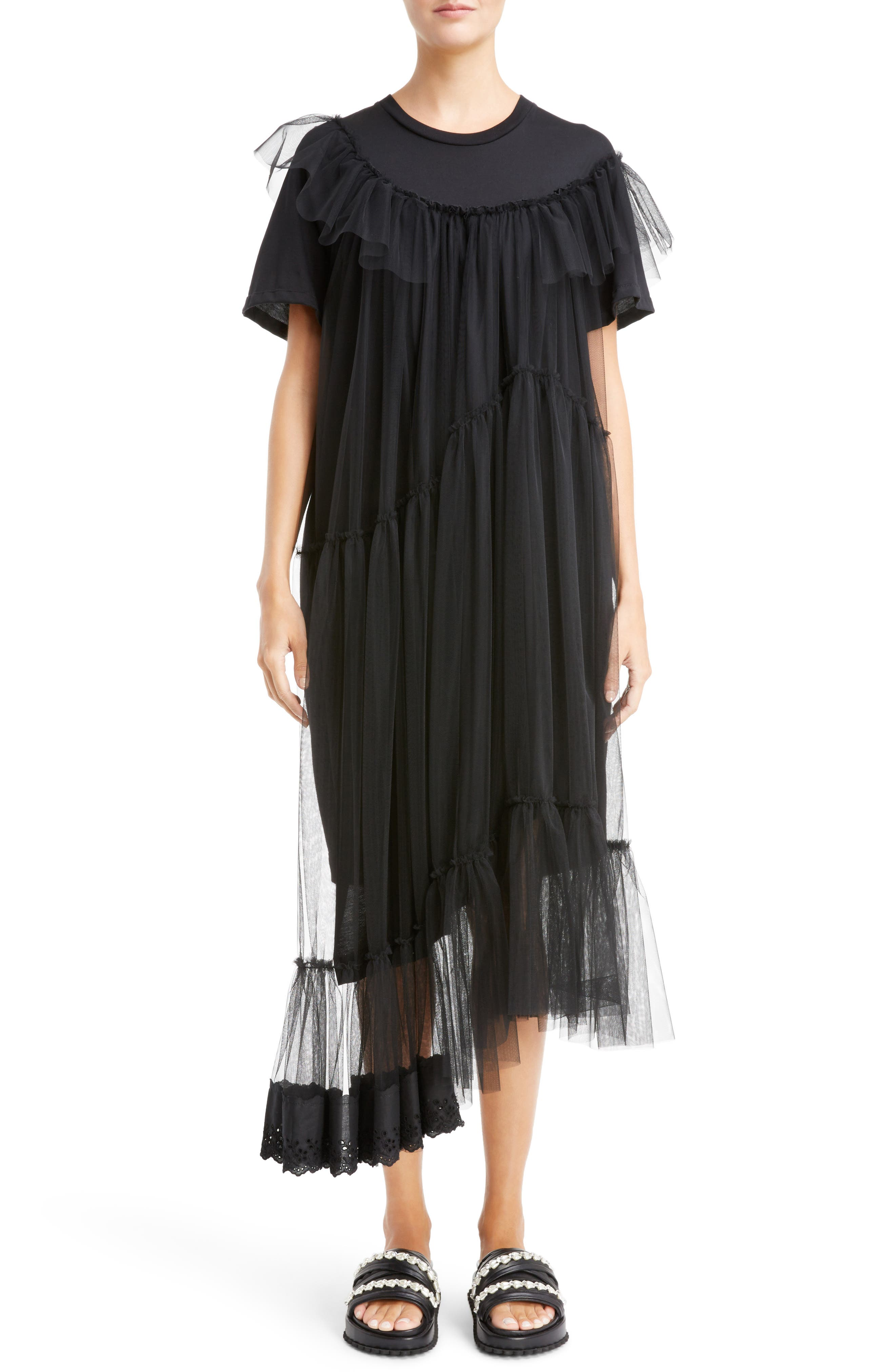 Simone Rocha Long Jersey & Tulle T-Shirt Dress