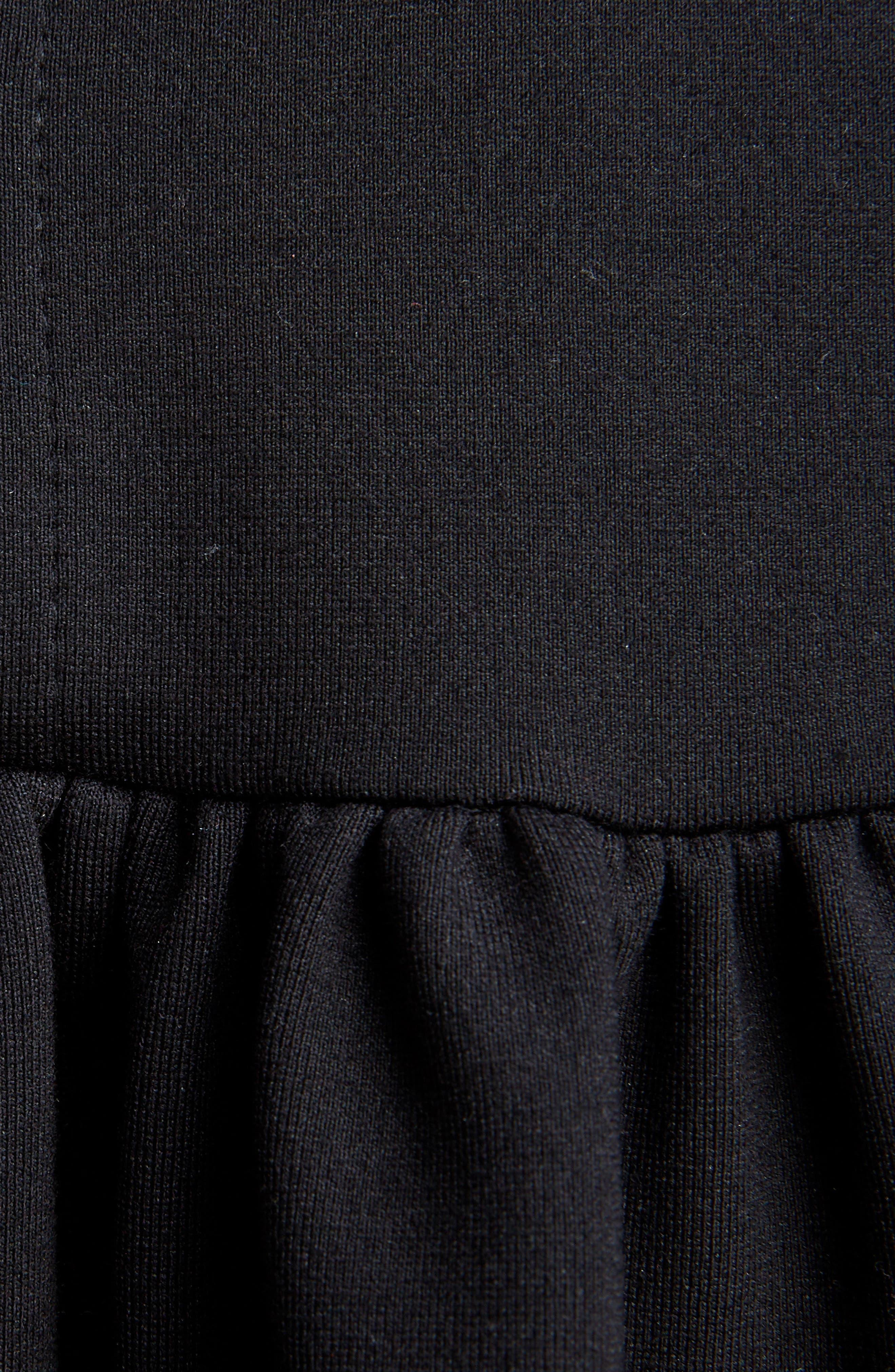 Ruffle Bib Dress,                             Alternate thumbnail 5, color,                             Black