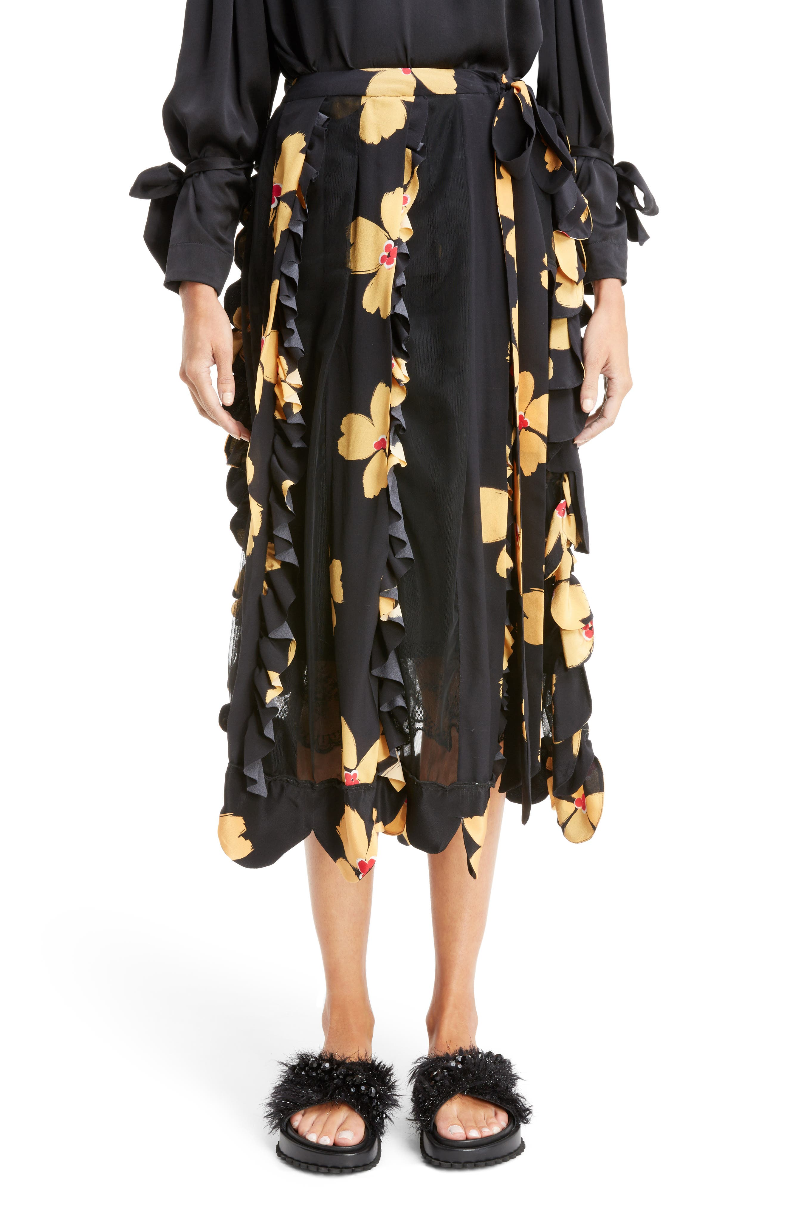Turbo Pleat Floral Silk Wrap Skirt,                         Main,                         color, Black Clementine