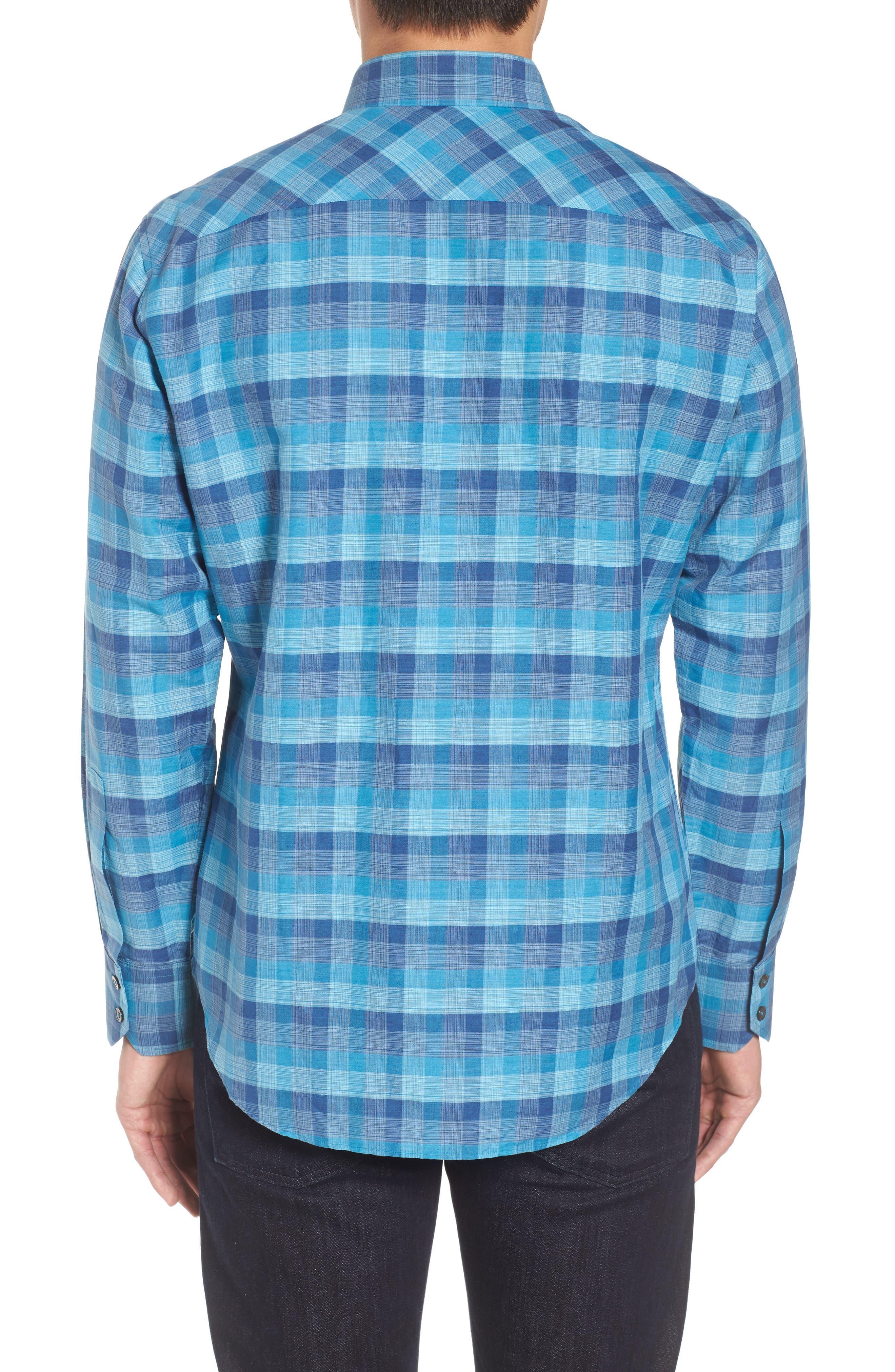 Maverick Plaid Linen Blend Sport Shirt,                             Alternate thumbnail 2, color,                             Teal