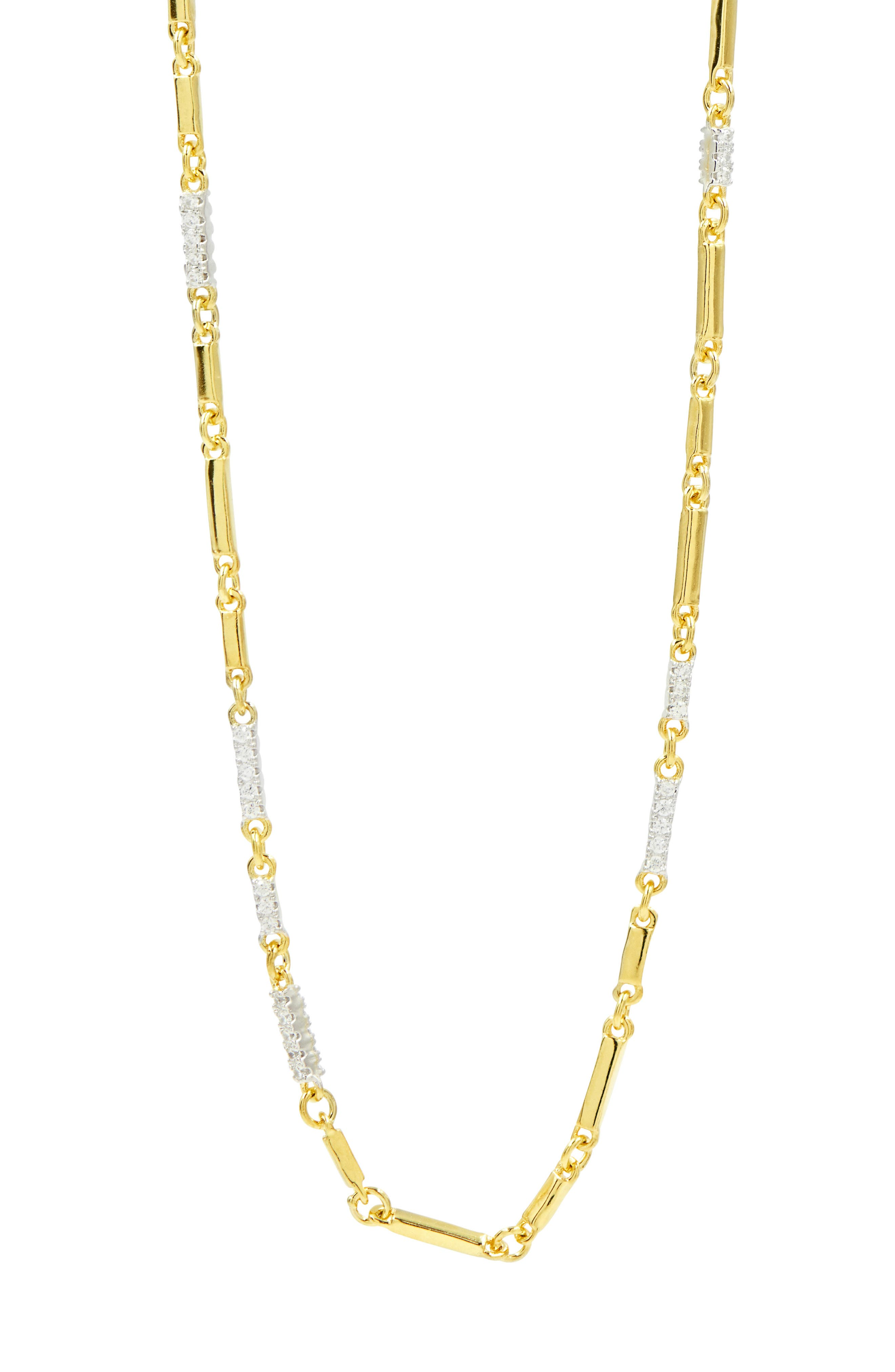 Radiance Cubic Zirconia Chain Necklace,                             Main thumbnail 1, color,                             Silver/ Gold