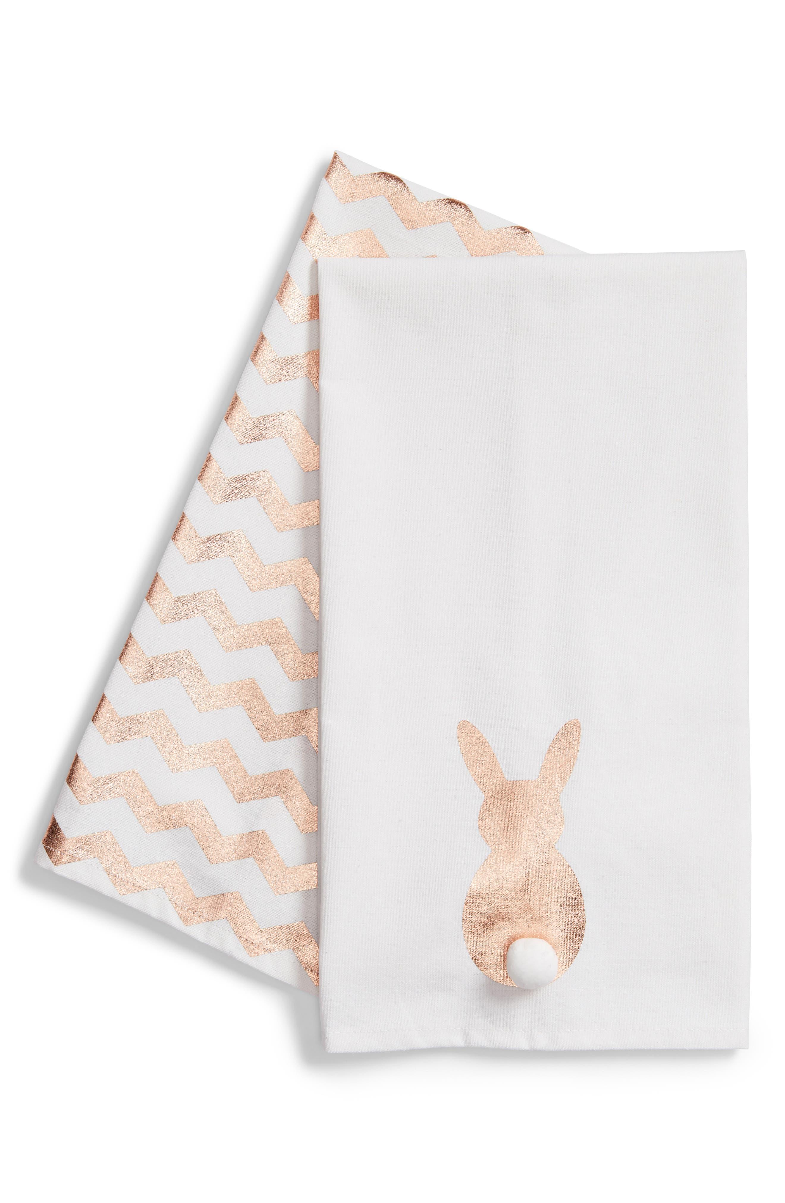 Bunny Set of 2 Dishtowels,                             Main thumbnail 1, color,                             Gold