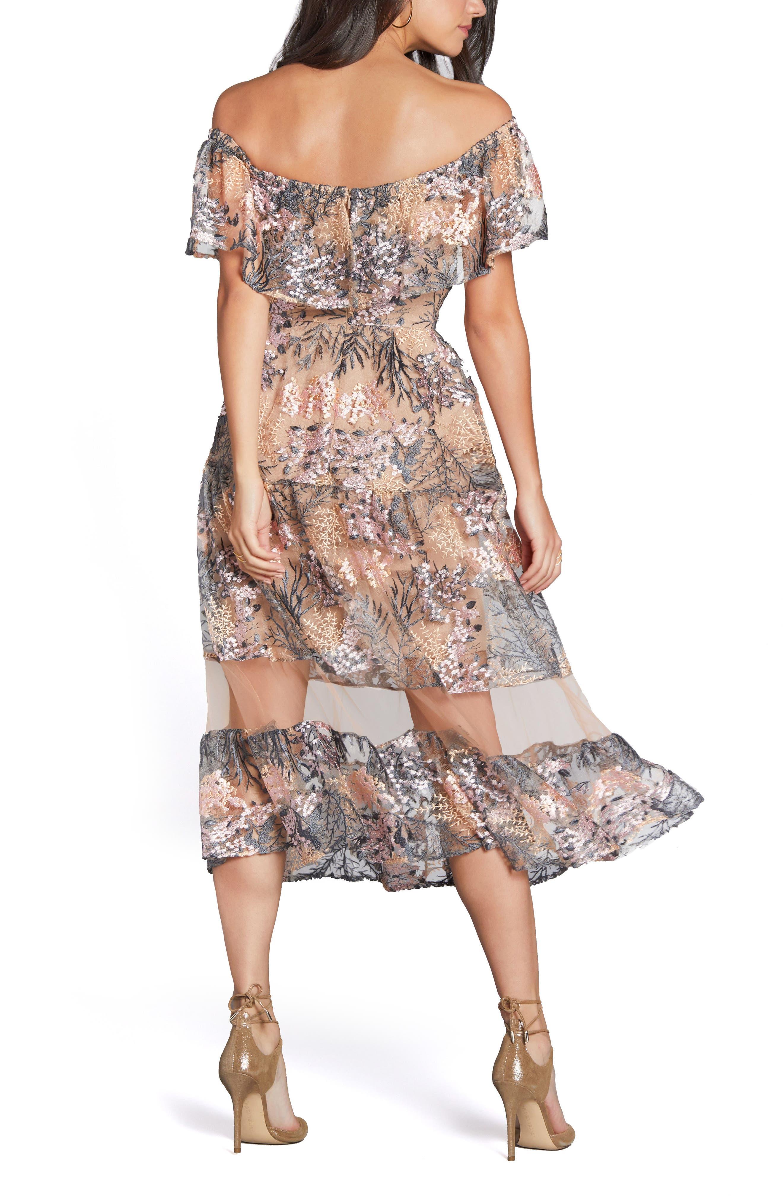 Gabriella Off the Shoulder Dress,                             Alternate thumbnail 3, color,                             Pink Blossom