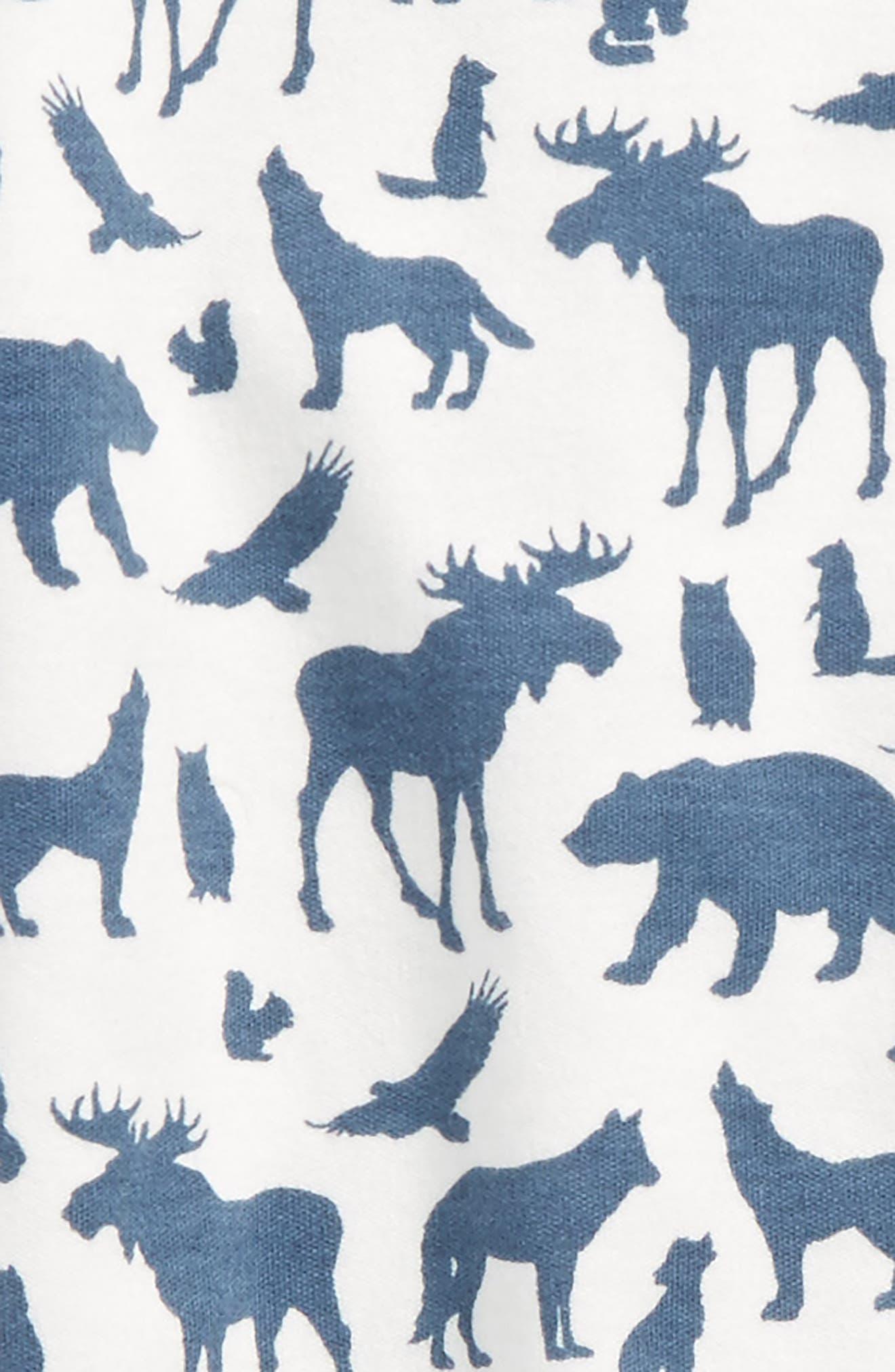 Animal Print Organic Cotton Footie,                             Alternate thumbnail 2, color,                             Off White / Blue