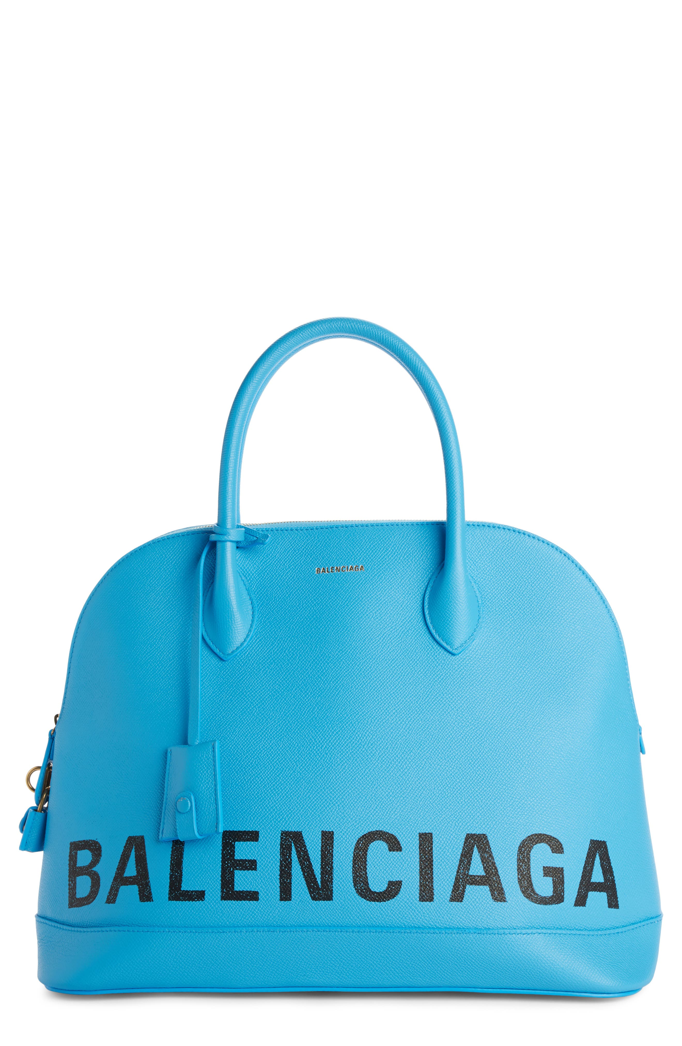 Balenciaga Medium Logo Leather Satchel with Water Repellent Coat