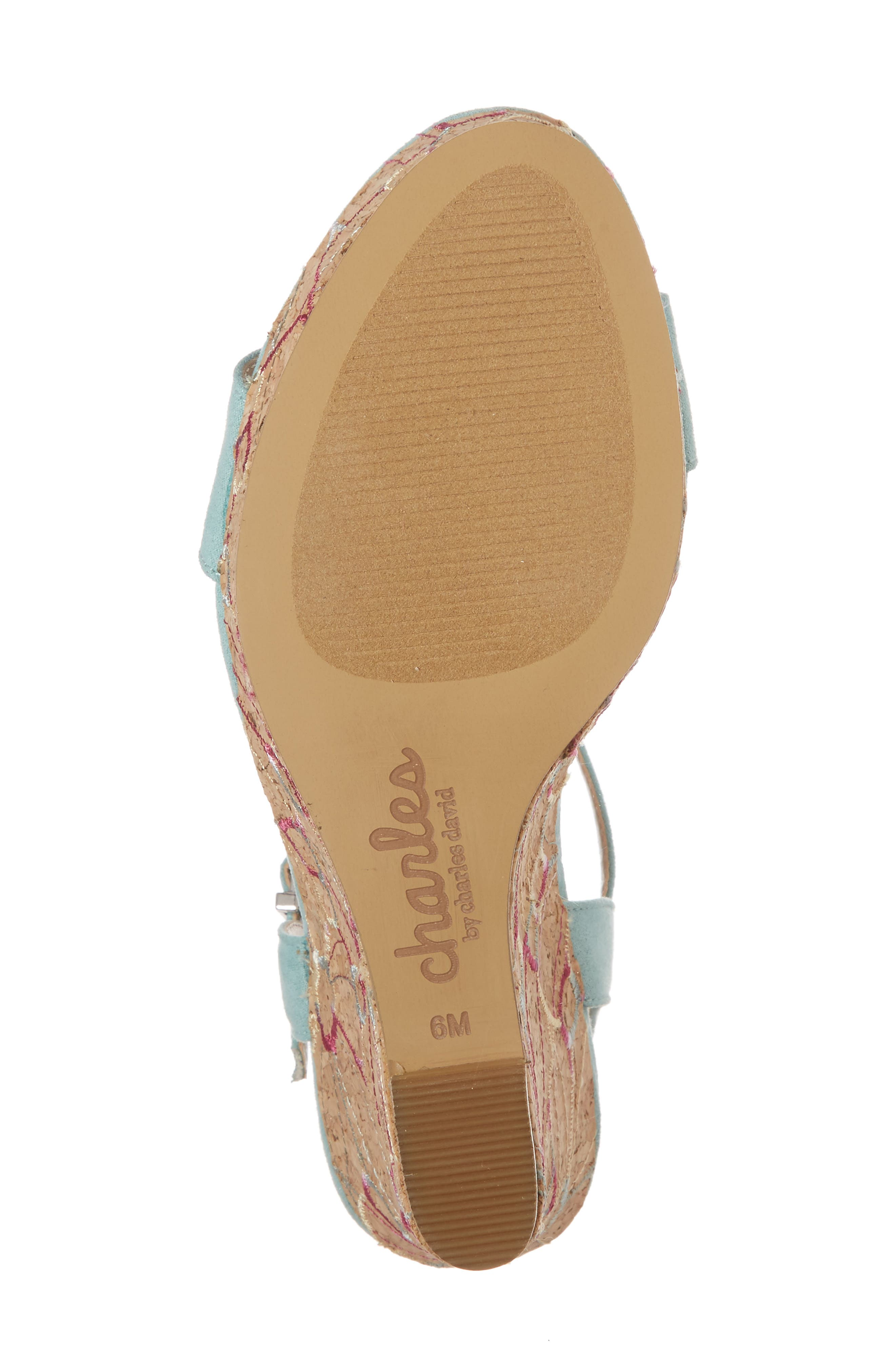 Laney Embroidered Wedge Sandal,                             Alternate thumbnail 6, color,                             Mint Green Suede