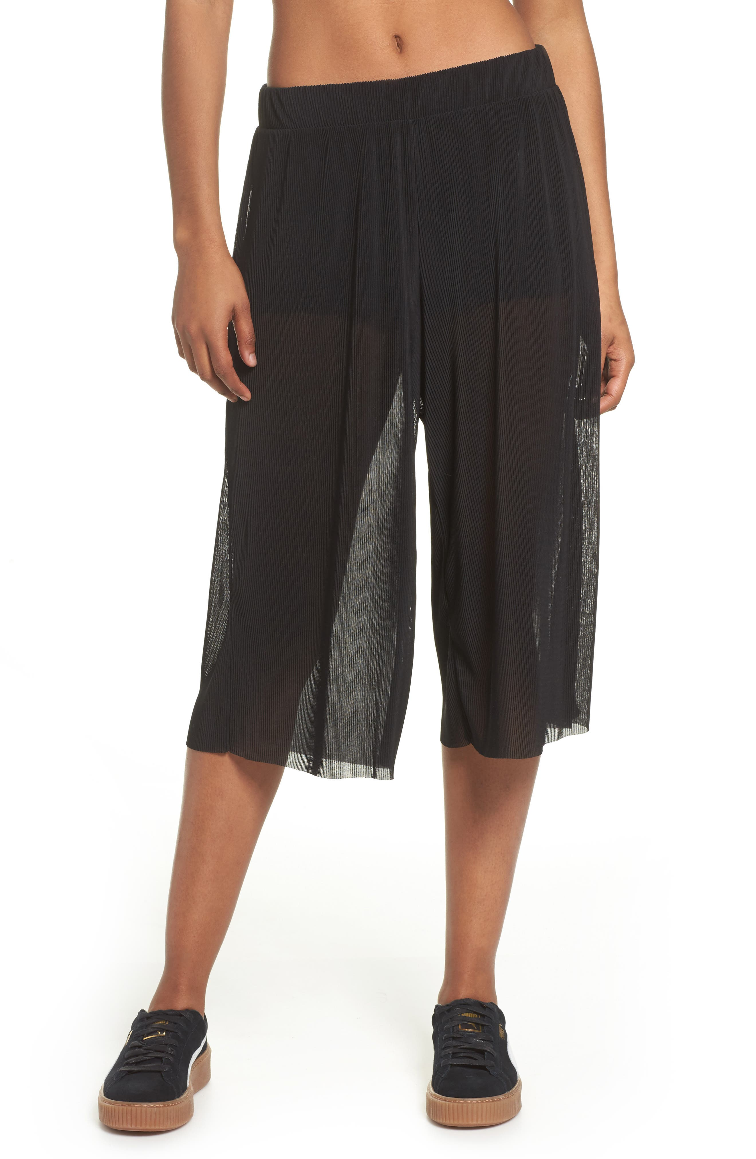 Pleated Culottes,                             Main thumbnail 1, color,                             Black