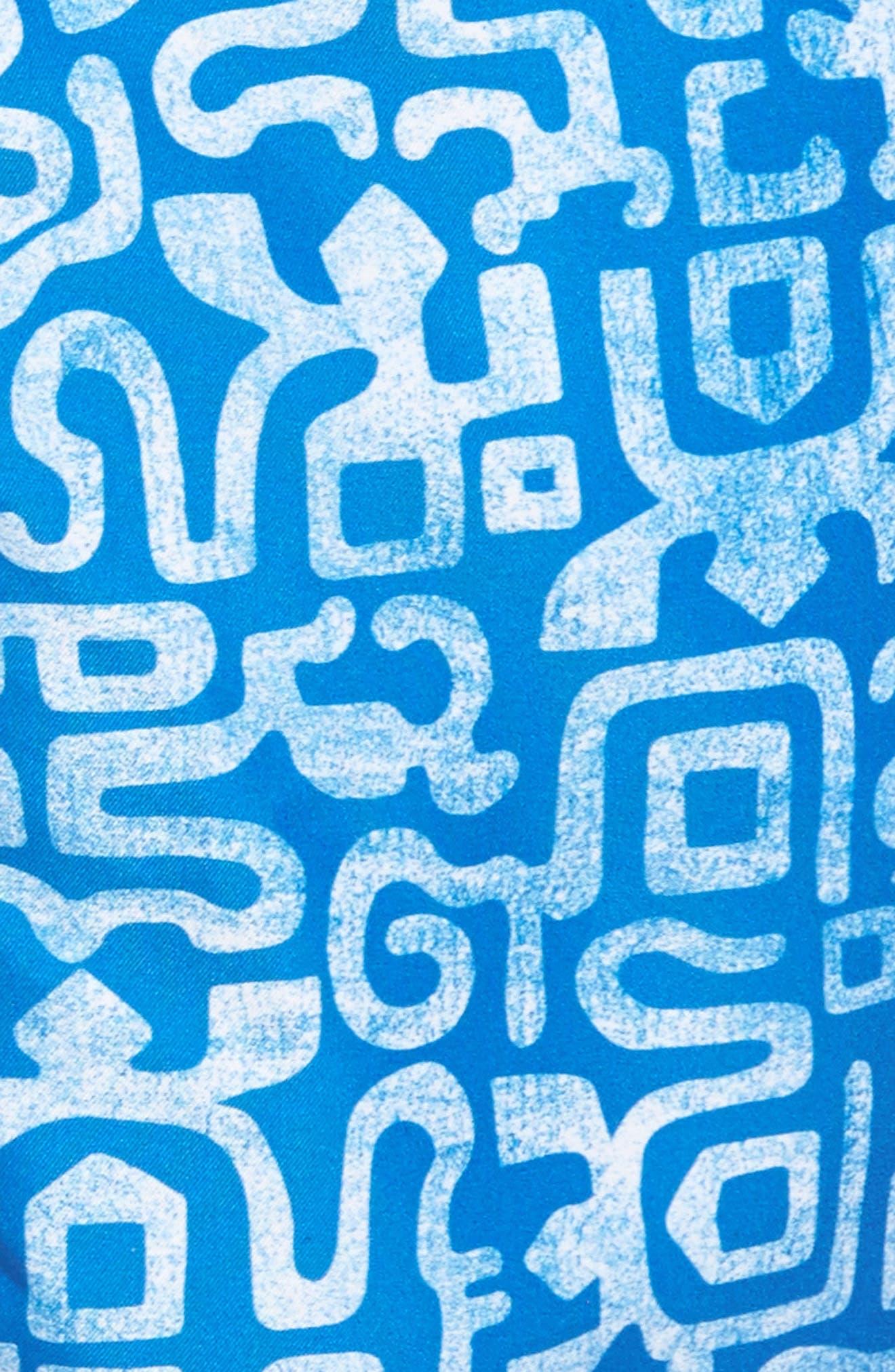 Trunks Swim & Surf CO. Swami Geo Print Board Shorts,                             Alternate thumbnail 5, color,                             Nautical Blue/ White