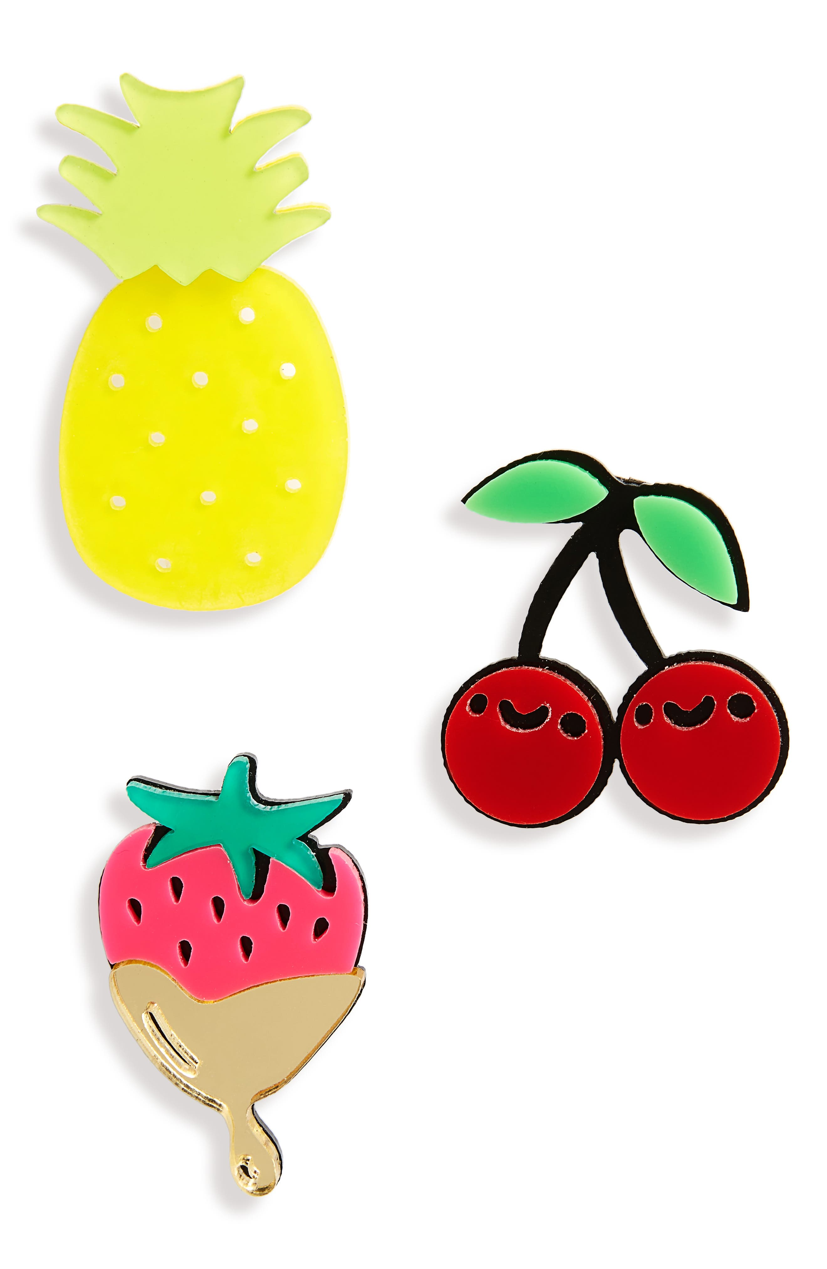 Cara Set of 3 Fruit Pins,                         Main,                         color, Yellow Multi