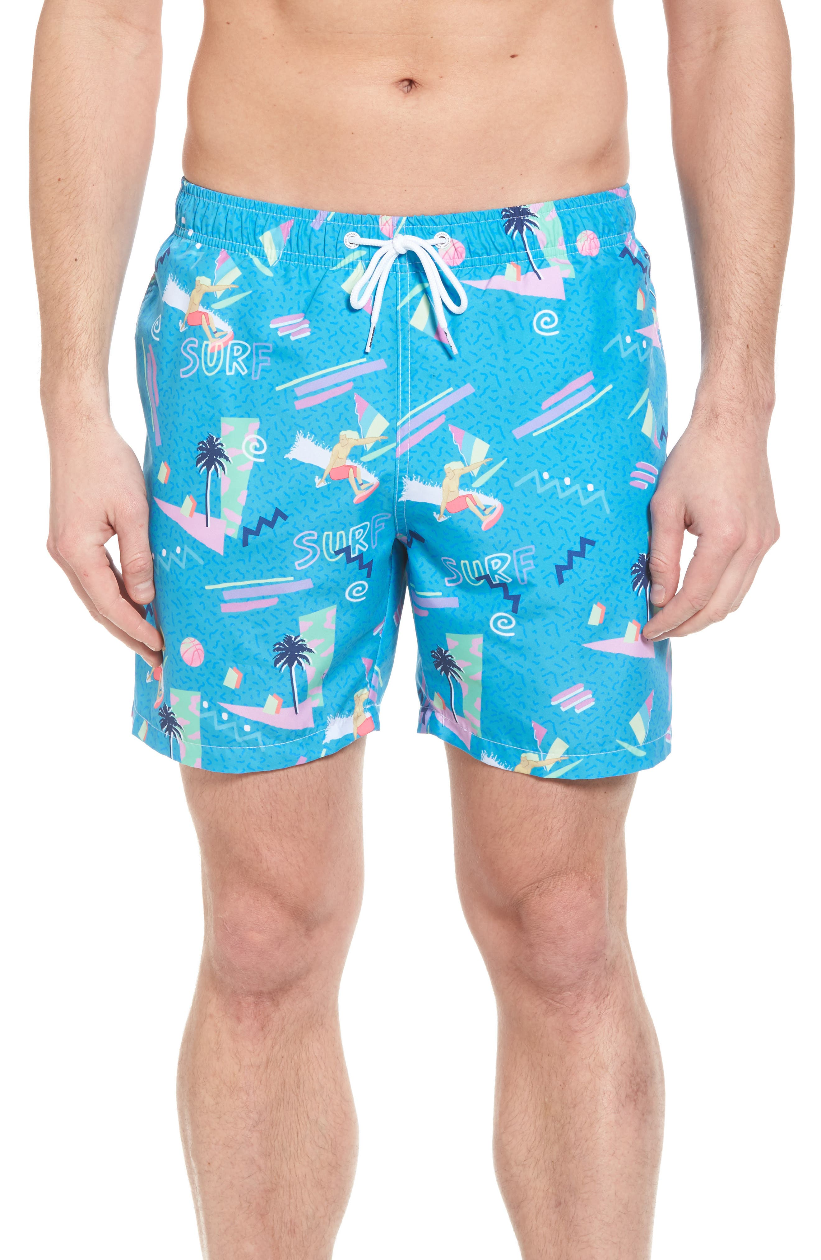 x Yoko Honda Print Swim Shorts,                         Main,                         color, Blue