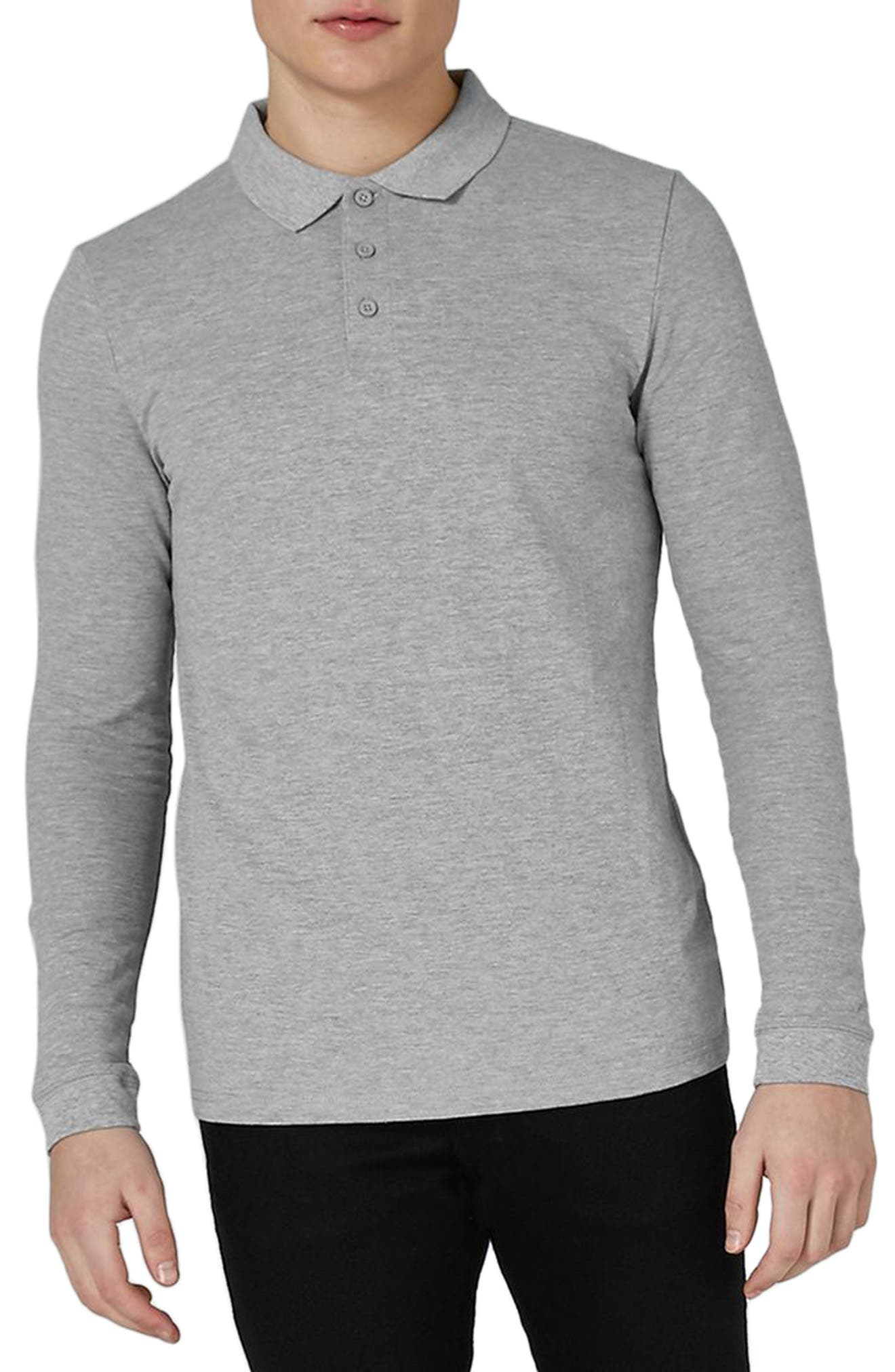Main Image - Topman Leon Muscle Fit Long Sleeve Polo