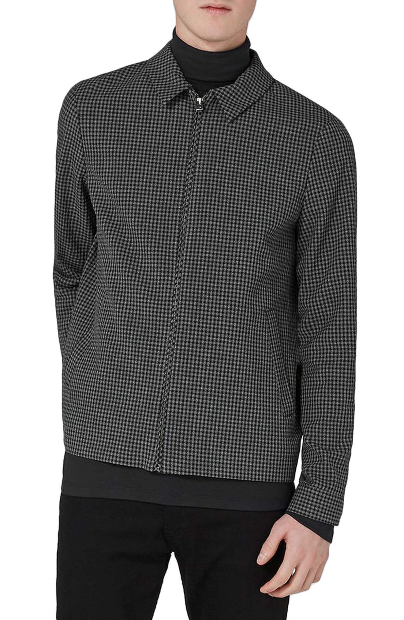 Gingham Harrington Jacket,                             Main thumbnail 1, color,                             Grey Multi